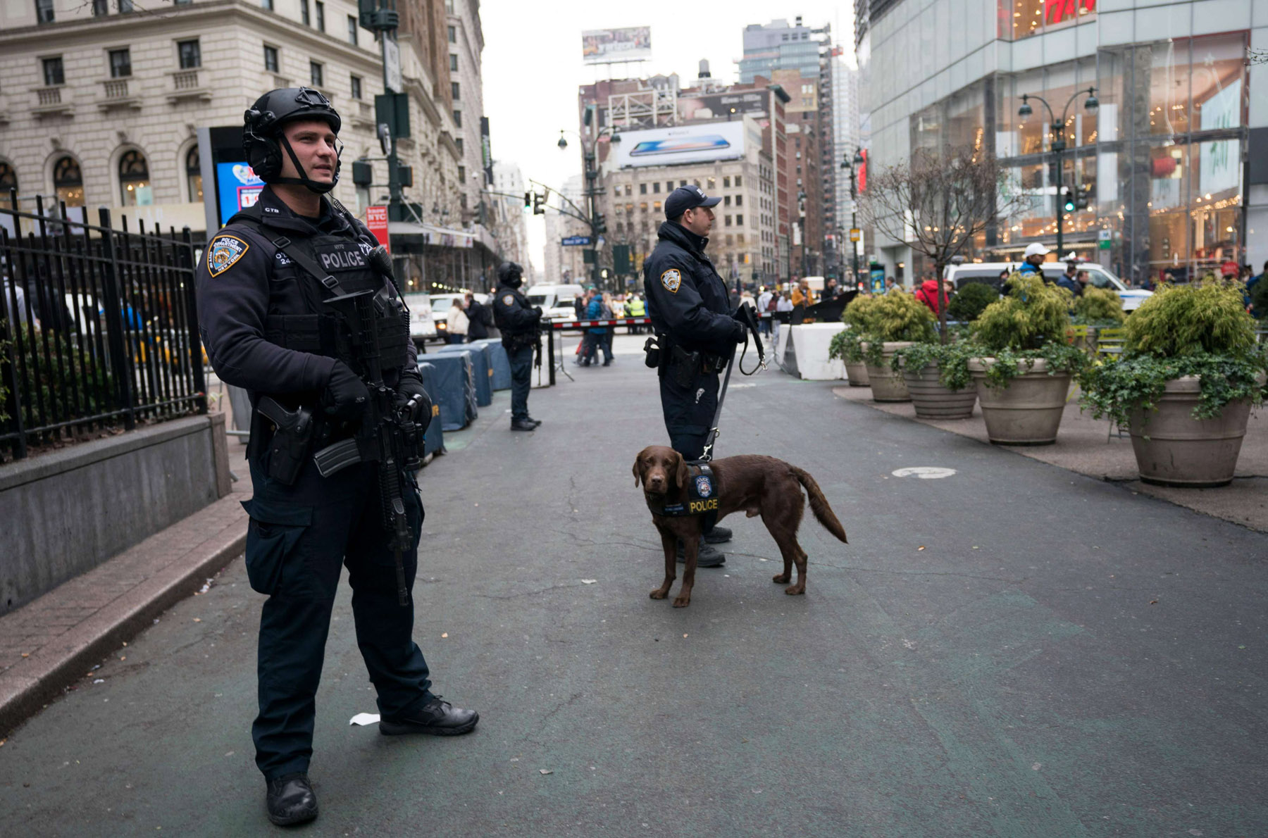 Police officers patrol the area around Herald Square in New York. (AFP)