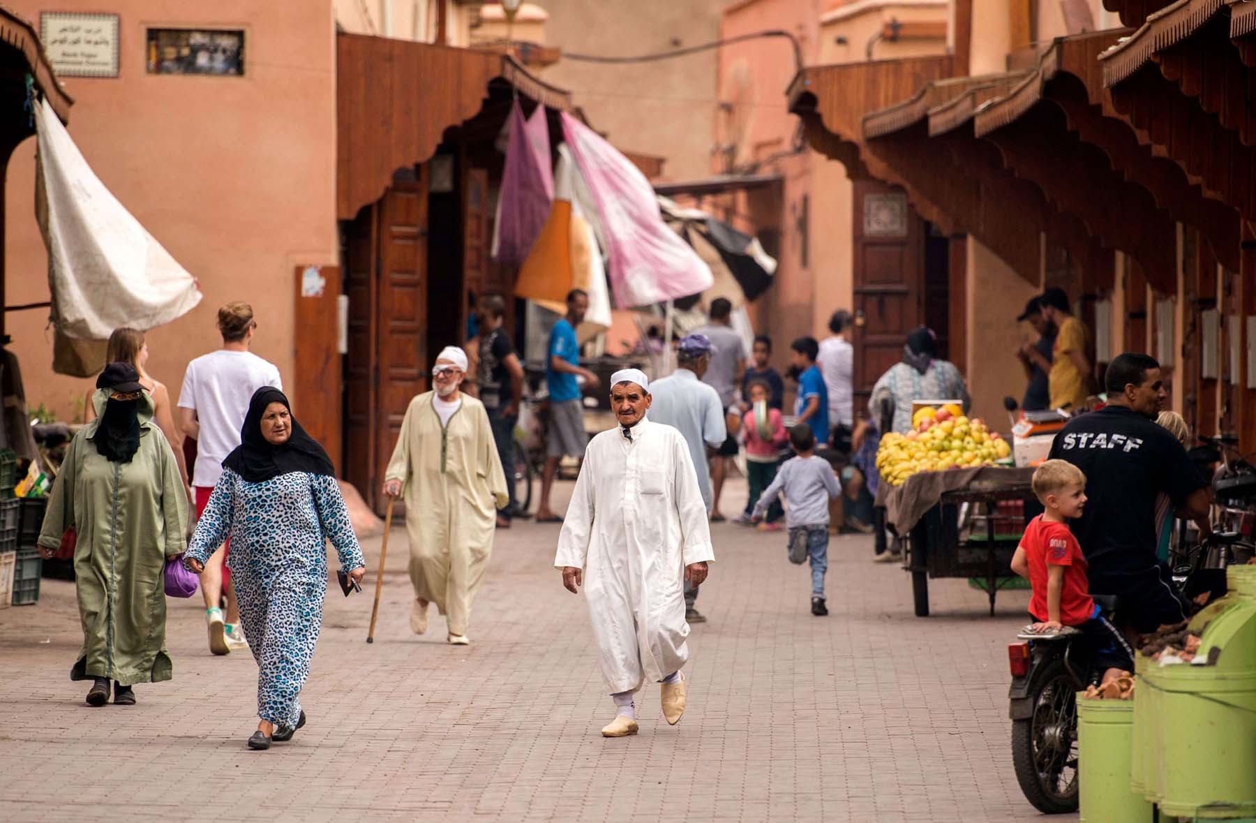 A view of a street in the Mellah Jewish quarter of the Old Medina in Marrakech. (AFP)