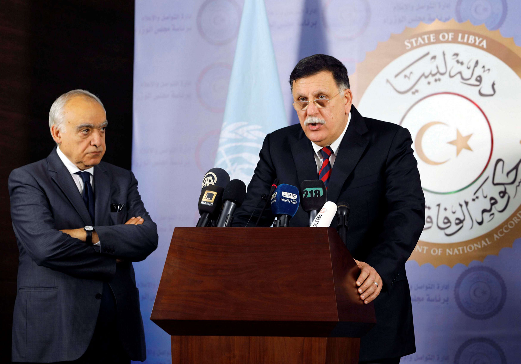 Bumpy road. Head of Libyan Presidency Council Fayez al-Sarraj (R) speaks during a news conference with UN Envoy to Libya Ghassan Salame in Tripoli. 				                             (Reuters)
