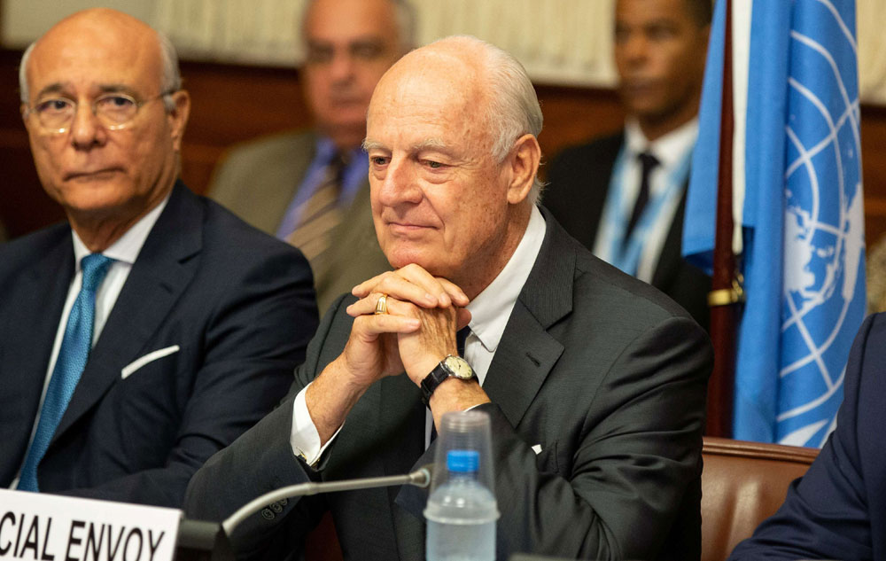 Unsatisfactory performance. UN Special Envoy for Syria Staffan de Mistura (C) attends a meeting at the European headquarters of the United Nations in Geneva, on September 14. (Reuters)