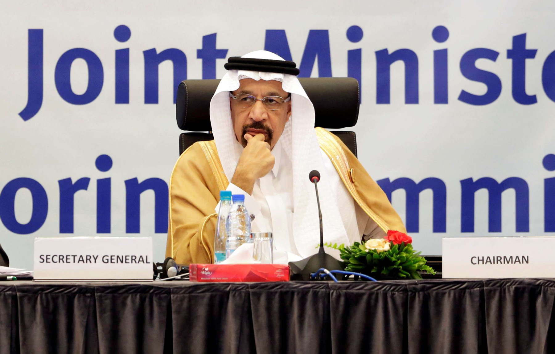 Saudi Arabian Energy Minister Khalid al-Falih during the inaugural session ceremony of the OPEC Ministerial Monitoring Committee in Algiers, Algeria September 23, 2018. (Reuters)