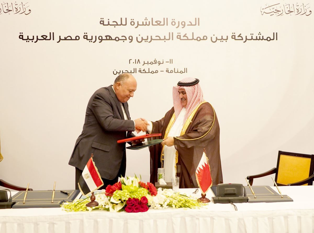 Bahraini Foreign Minister Khalid bin Ahmed al-Khalifa (R) and Egyptian Foreign Minister Sameh Shoukry during the  Tenth Joint Egyptian-Bahraini Committee in Manama, on November 11. (Egyptian Foreign Ministry)