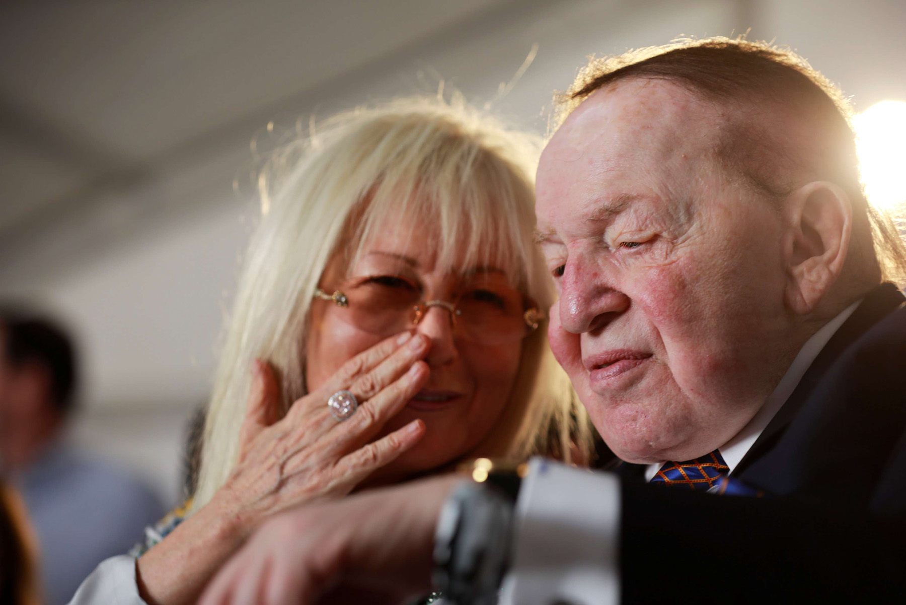 A 2017 file picture shows Miriam and Sheldon Adelson attending a ceremony at Ariel University in the Israeli settlement of Ariel in the occupied West Bank. (Reuters)