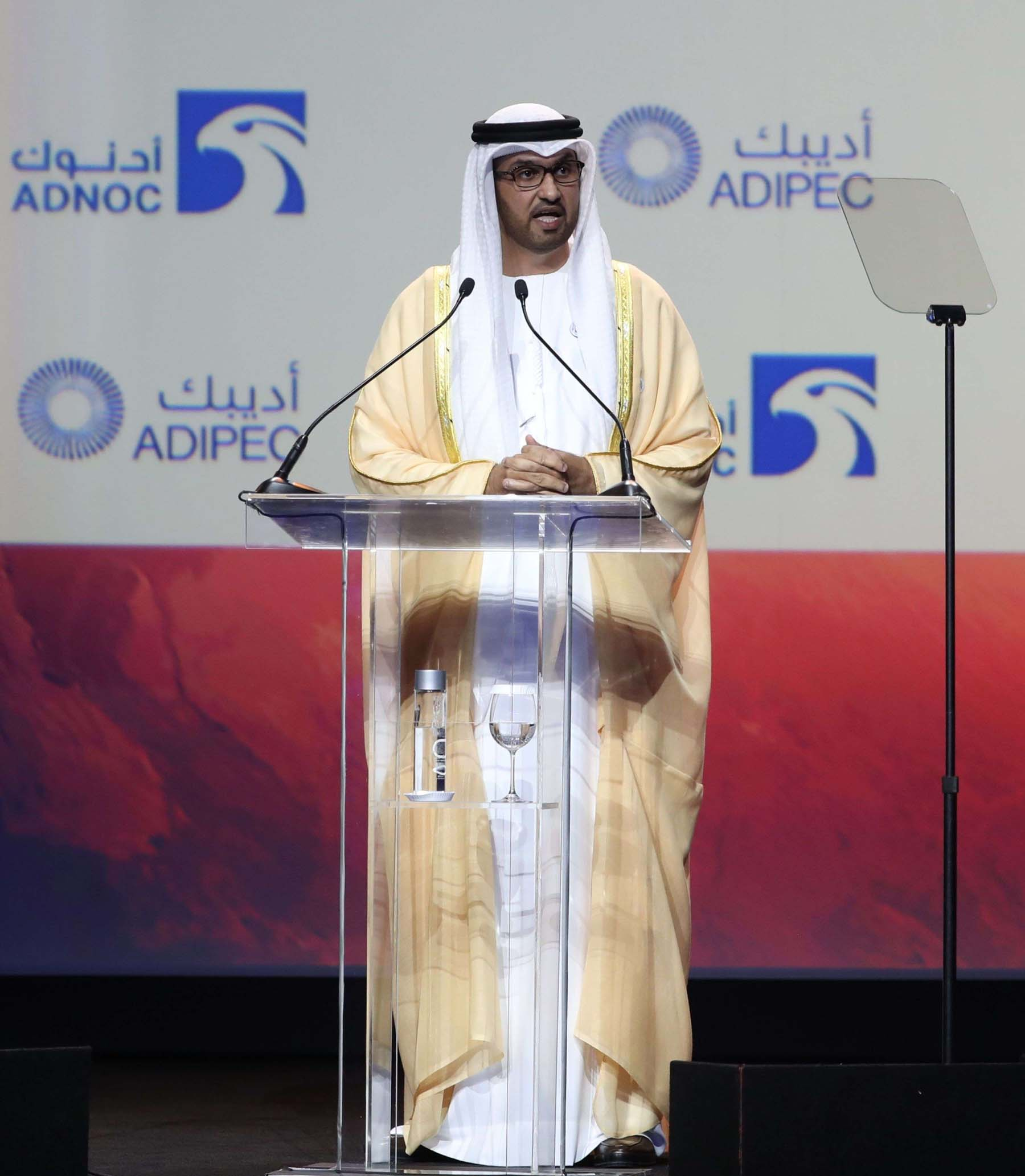 ADNOC Group CEO Sultan Ahmed al-Jaber speaks during the Abu Dhabi International Petroleum Exhibition and Conference (ADIPEC), on November 12. (AFP)
