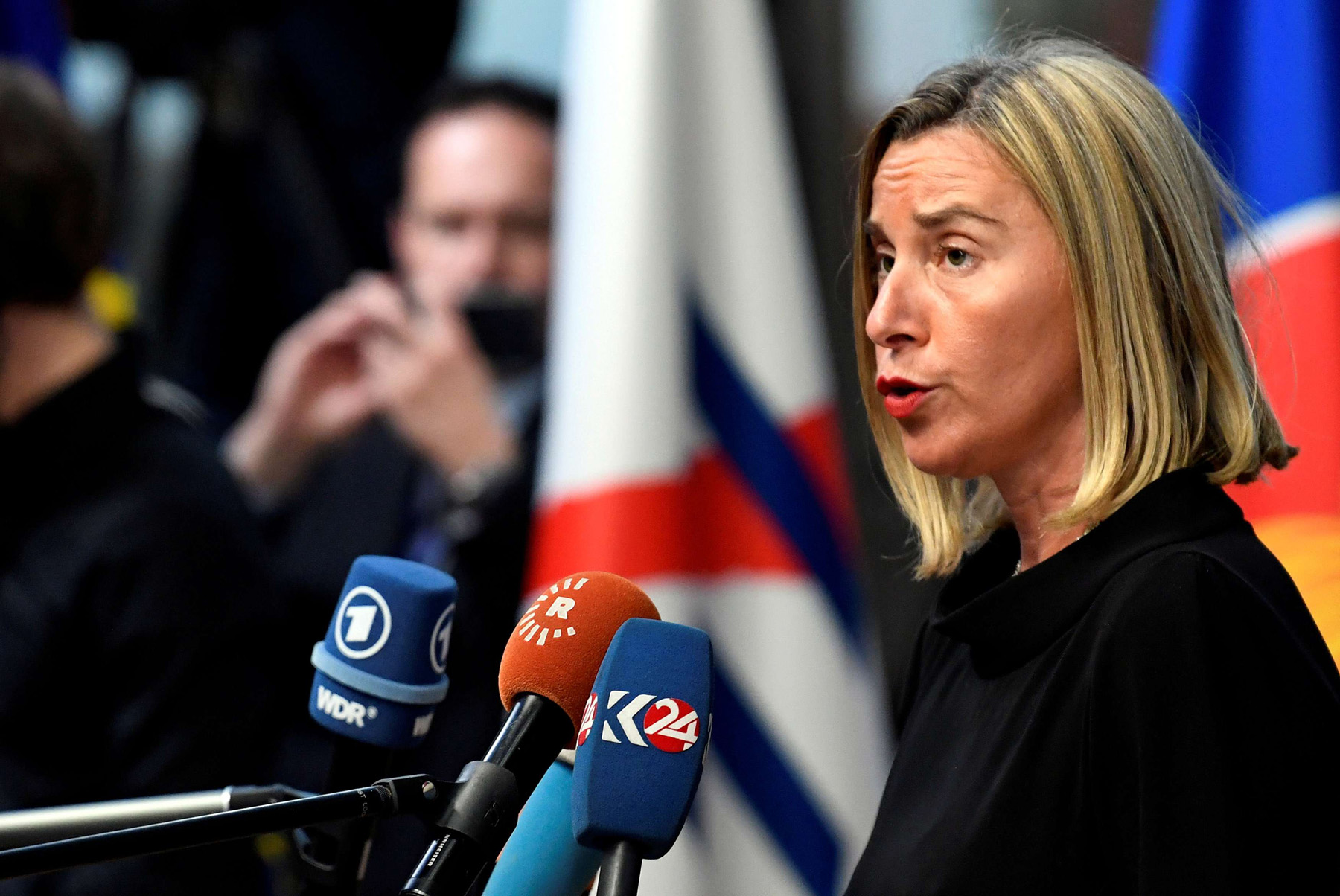 European Union Foreign Policy Chief Federica Mogherini speaks to the media in Brussels, on October 18. (Reuters)