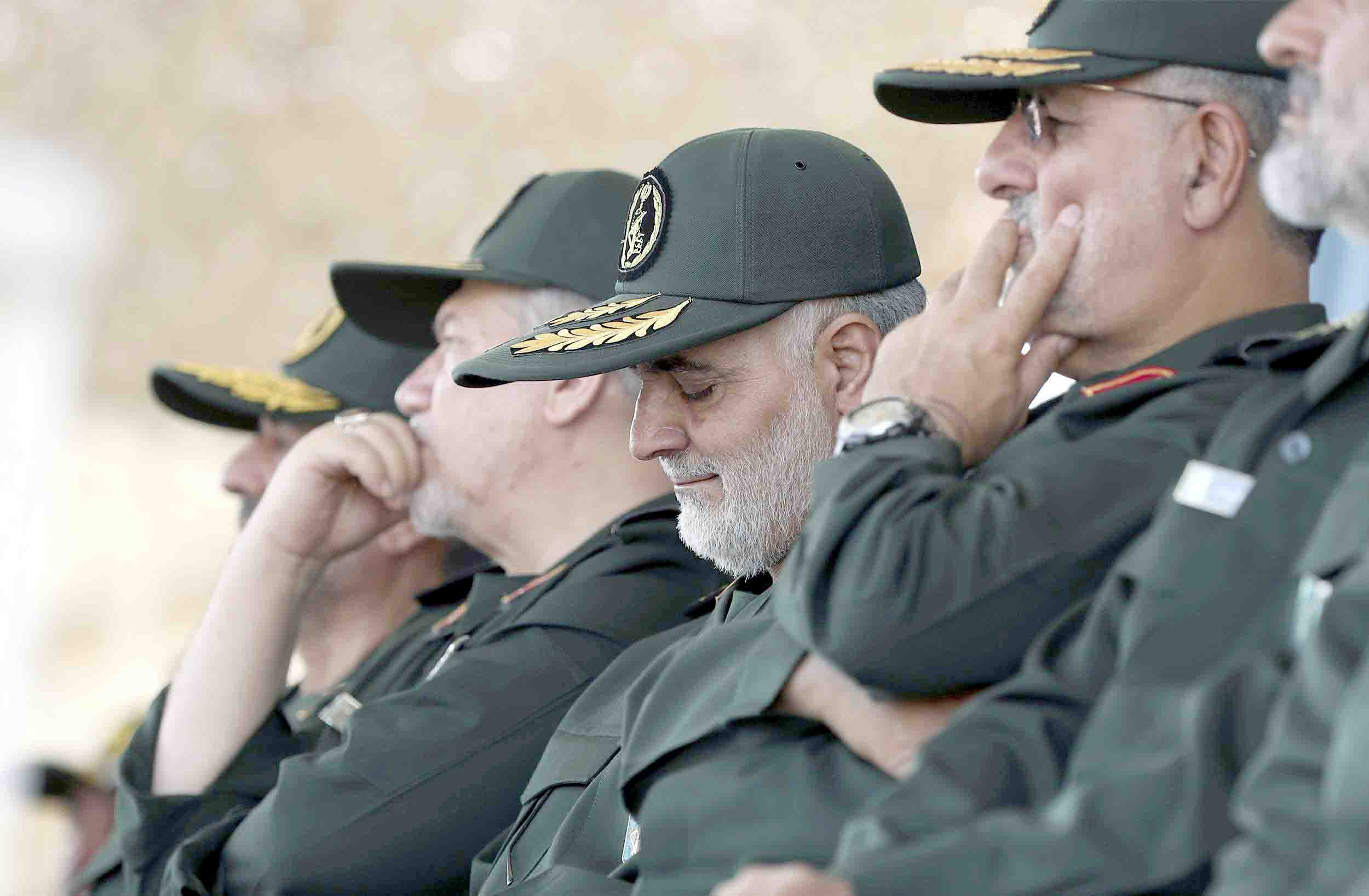 General Qassem Soleimani (C) who heads the elite Quds Force of Iran's Revolutionary Guard attends a graduation ceremony in Tehran, last June. (Office of the Iranian Supreme Leader)