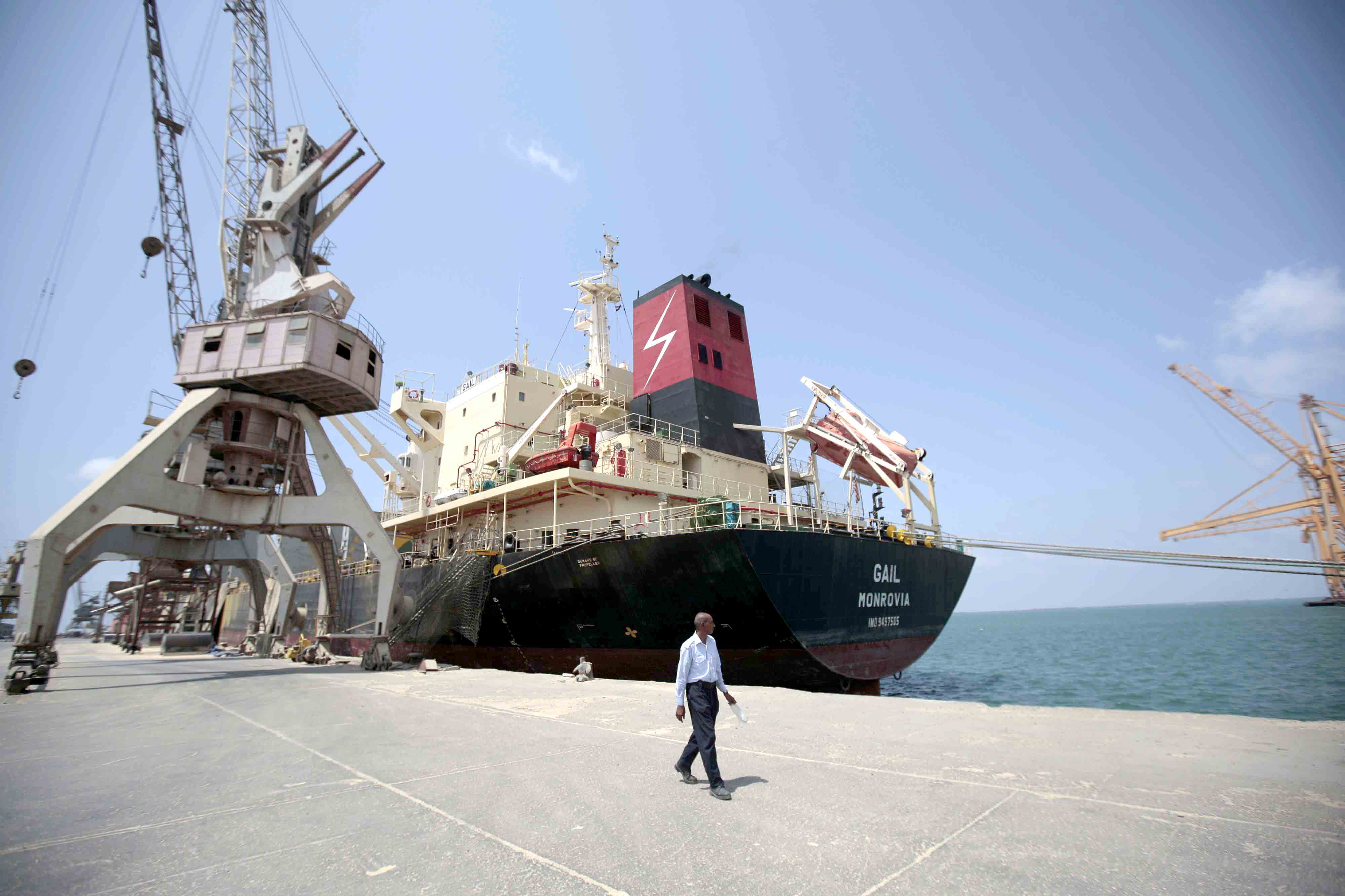A cargo ship is docked at the port of Hodeidah in Yemen.(AP)