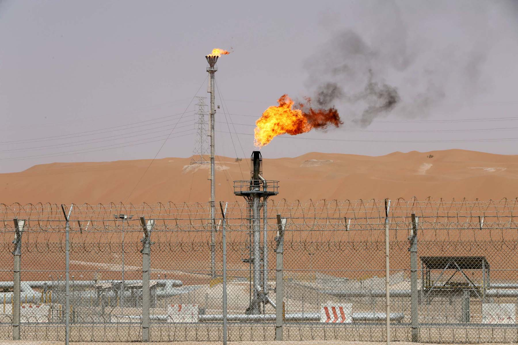 Flames at the production facility of Aramco's Shaybah oilfield in the Empty Quarter. (Reuters)