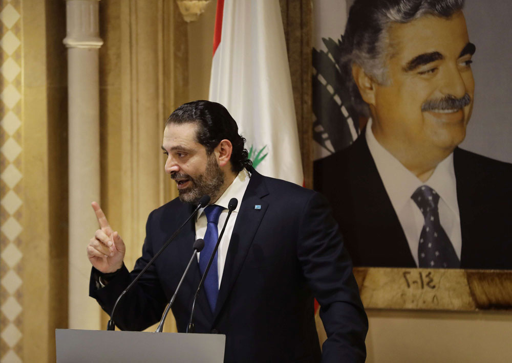 Unminced words. Lebanese Prime Minsiter Saad Hariri speaks during a news conference at his residence in downtown Beirut, on November 13. (AFP)