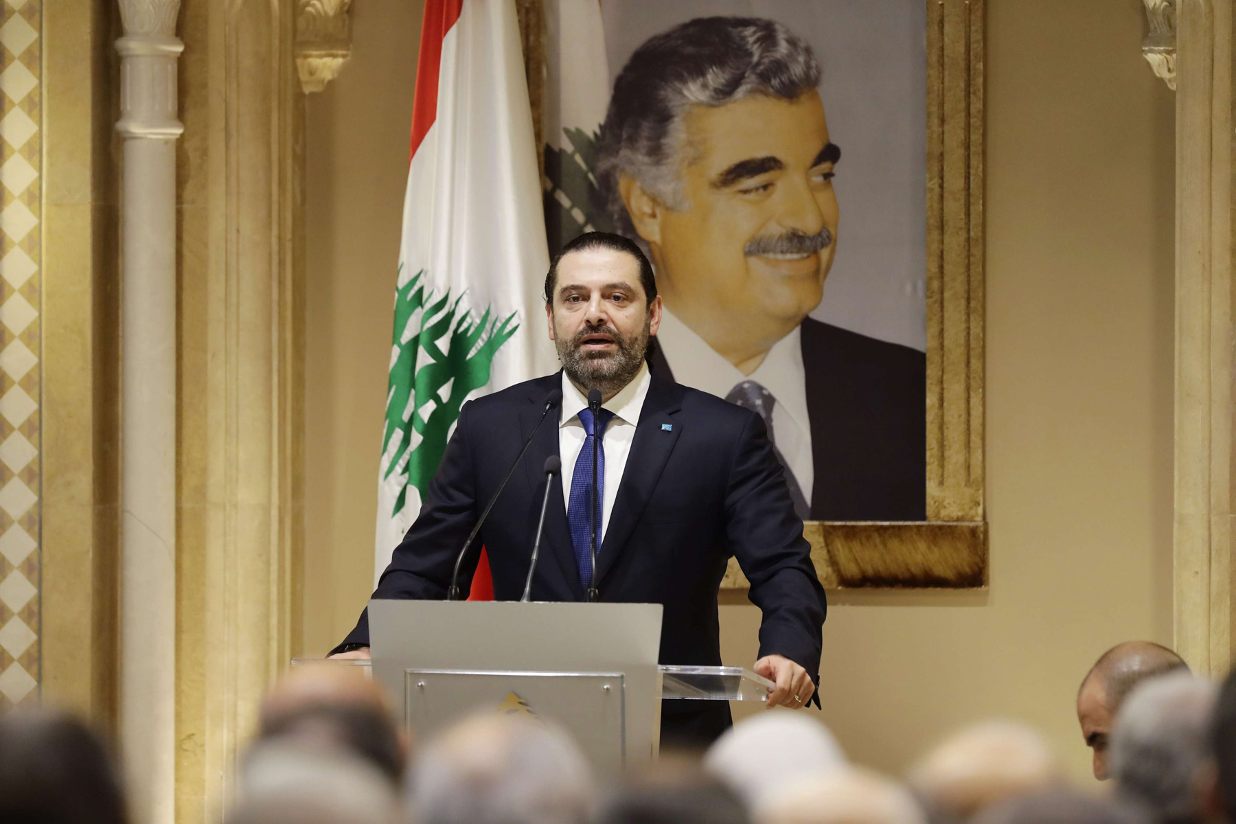 Lebanese Prime Minsiter Saad Hariri speaks during a press conference at his residence in downtown Beirut on November 13, 2018. (AFP)