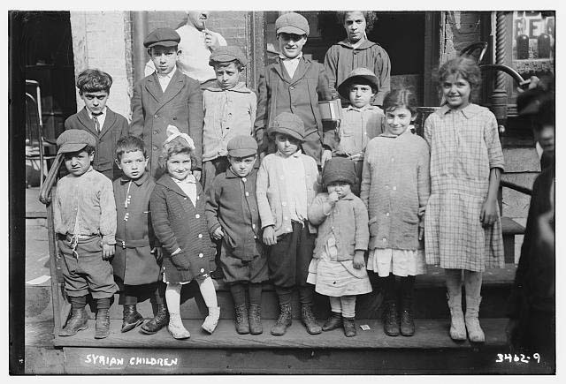 Syrian school children in New York, early 1900s. (Washington Street Historical Society)