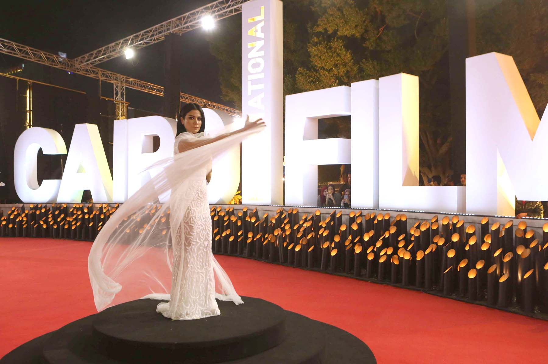 Jordanian actress Saba Moubarak poses on the red carpet at the closing ceremony of the 40th edition of the Cairo International Film Festival, November 29. (AFP)
