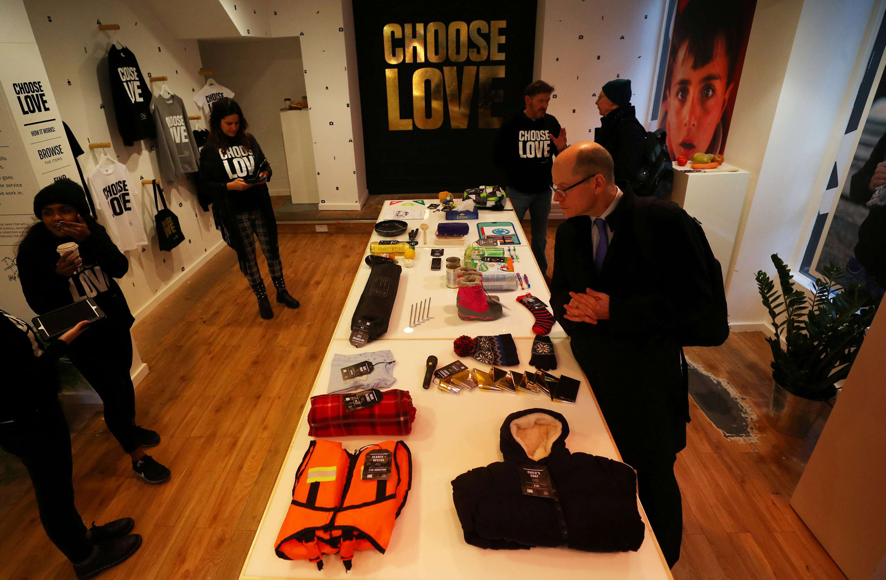 A customers looks at items for sale at the pop-up shop in London. (Reuters)