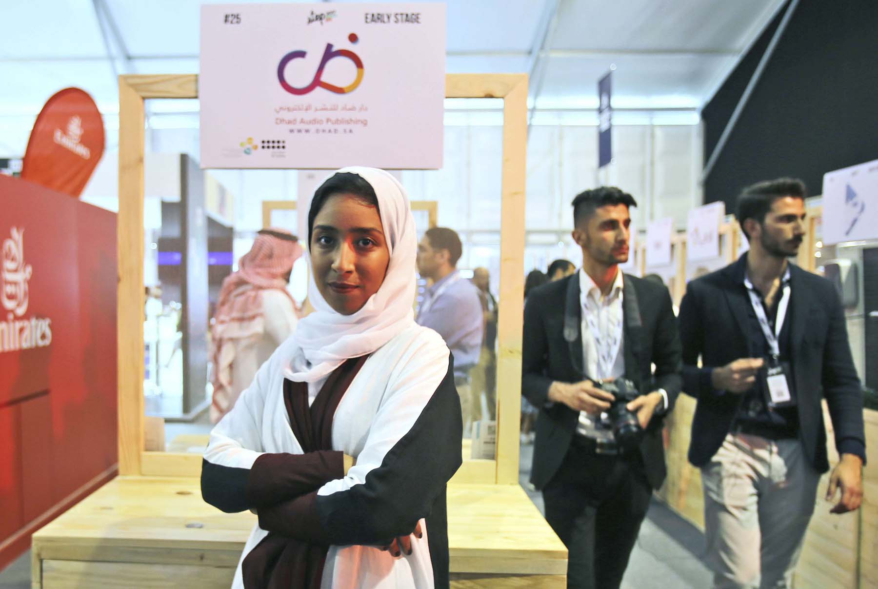 Saudi entrepreneur Manar Alomayri poses at the Digital Media Services tent as a part of the Step 2017 Conference and Music in Dubai.     (AP)