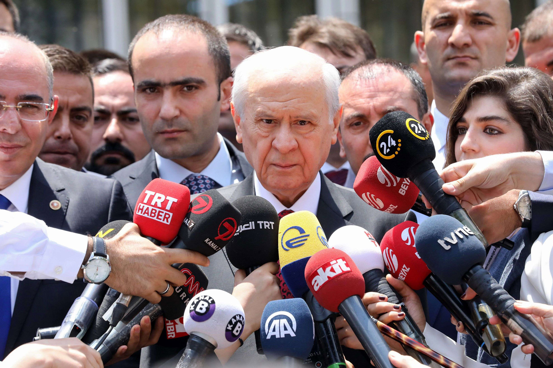 Volte-face. Devlet Bahceli, Leader of Turkey's Nationalist Movement Party (MHP) speaks to reporters in Ankara, last June. (AFP)