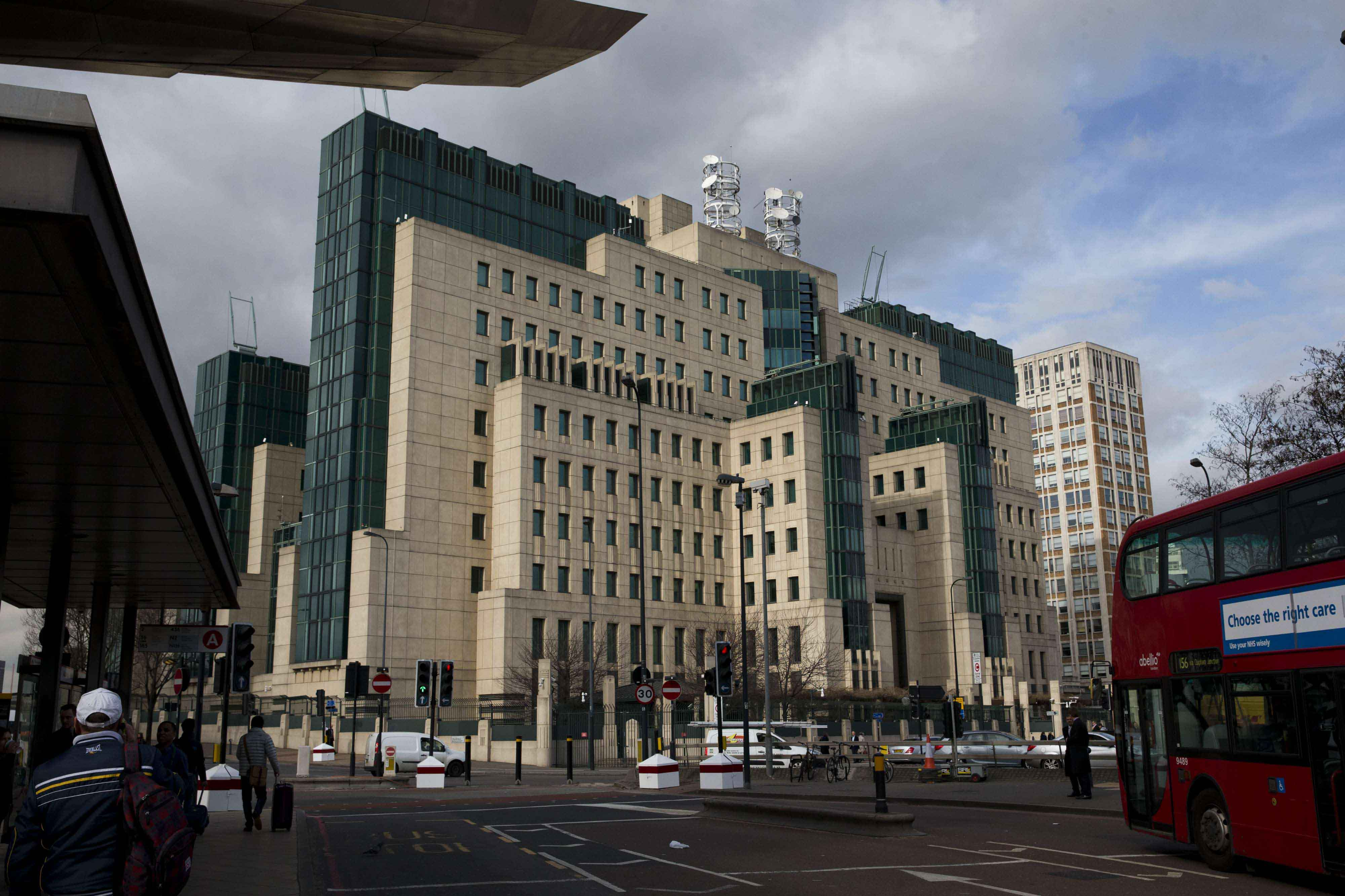 A general view of the MI6 building in London. (AP)