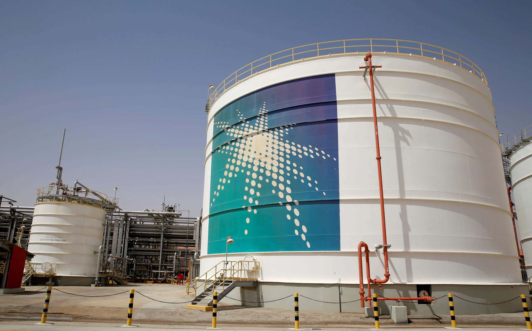 Leading producer. An Aramco oil tank at the production facility at Shaybah oilfield in the Empty Quarter. (Reuters)