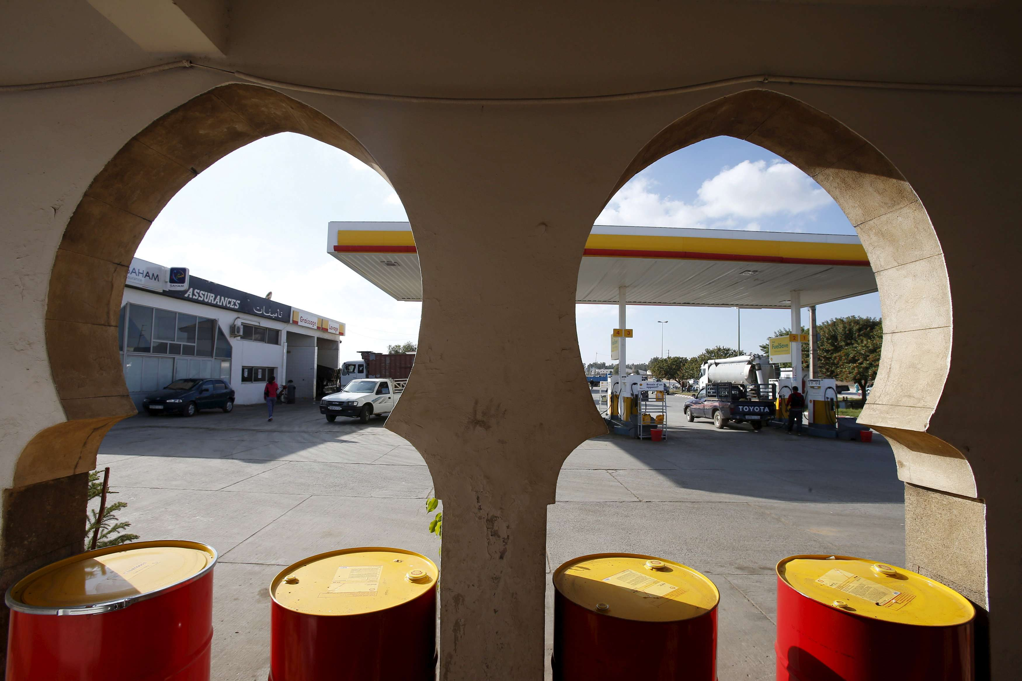 A view of a petrol station in Sidi Allal El Bahraoui in Morocco. (Reuters)