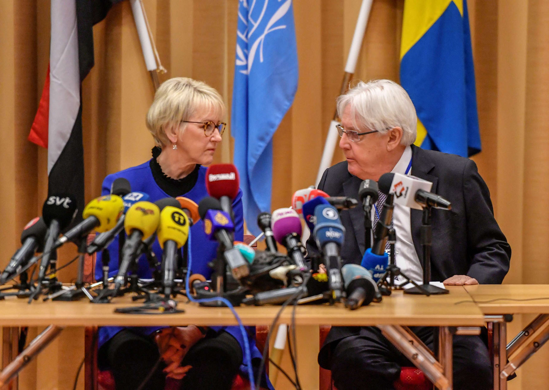 Sticky points. Swedish Foreign Minister Margot Wallstrom (L) and UN Envoy to Yemen Martin Griffiths attend the opening news conference on UN-sponsored peace talks for Yemen at Johannesberg Castle, December 6.  (Stina Stjernkvist /TT News Agency)