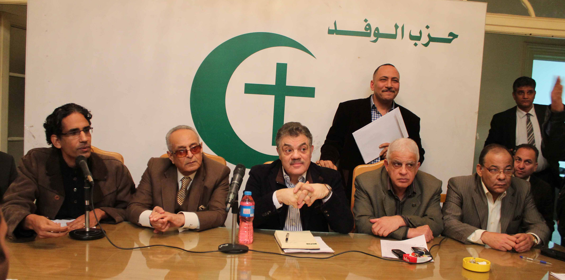 Political grievances. Former chief of the Wafd Party Sayyid al-Badawi (C) and other leading party members during a news conference in Cairo.  (Twitter)