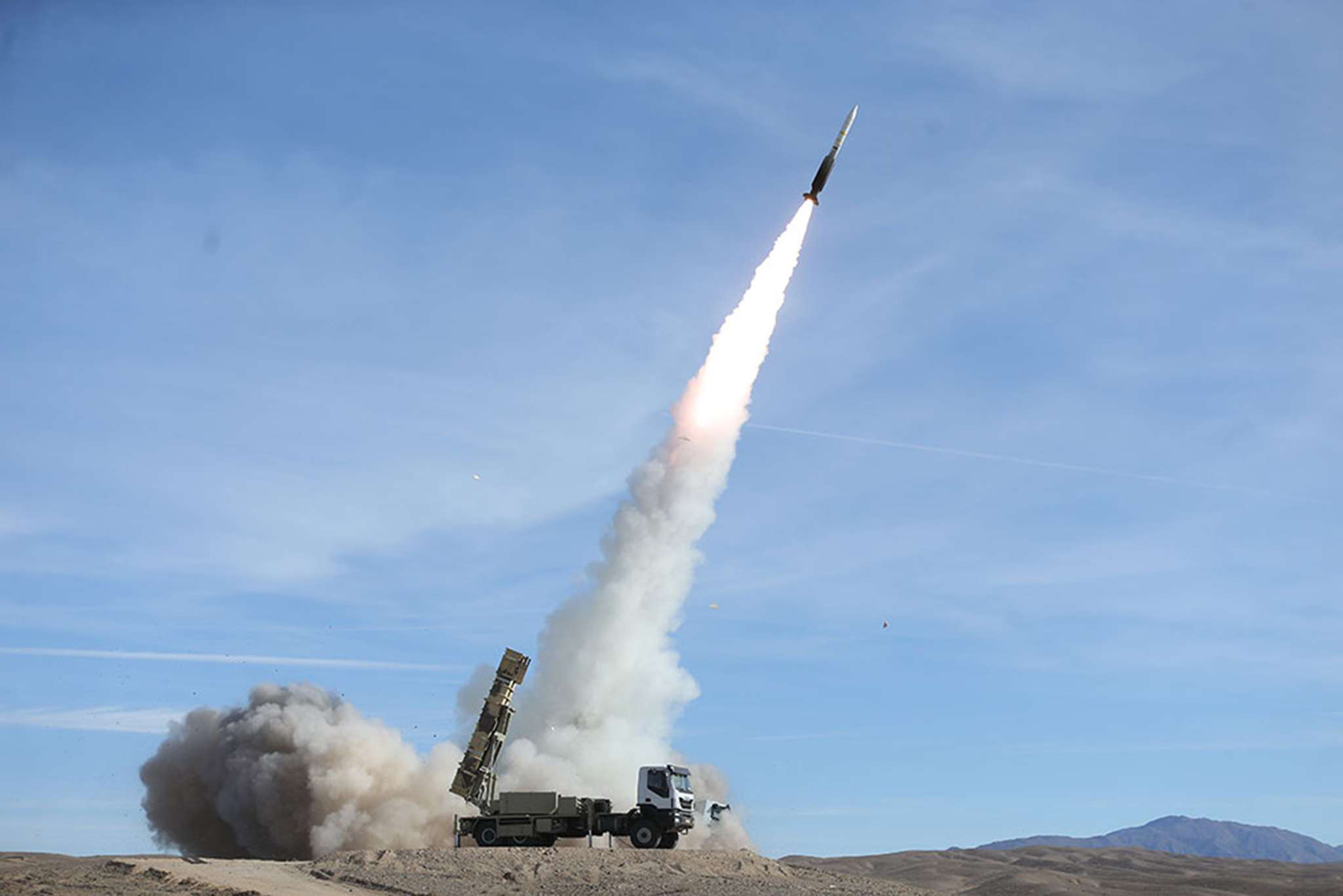 A Sayad missile fires from the Talash missile system during an air defence drill in an undisclosed location in Iran, November 5.            (Iranian Army Office)
