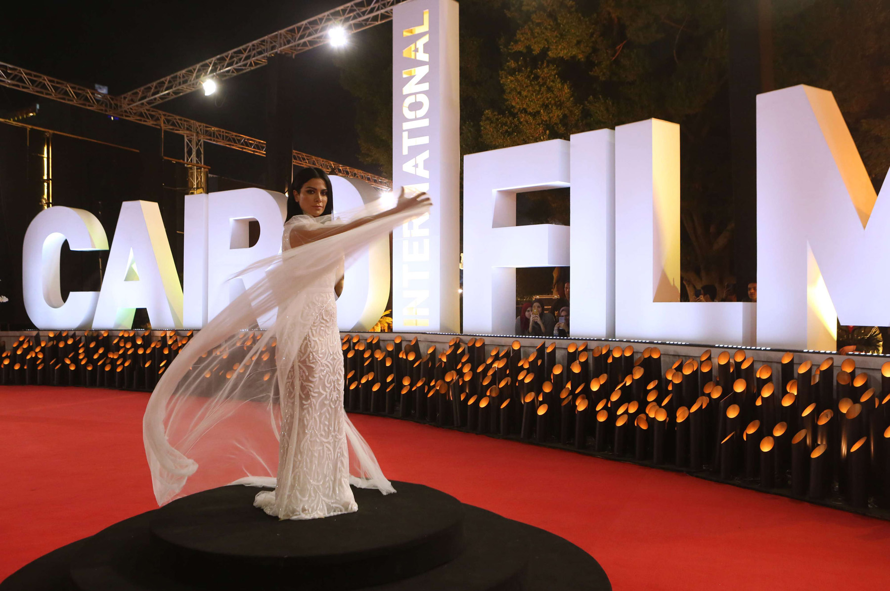 Jordanian actress Saba Moubarak poses on the red carpet at the closing ceremony of the 40th edition of the Cairo International Film Festival, on November 29. (AFP)