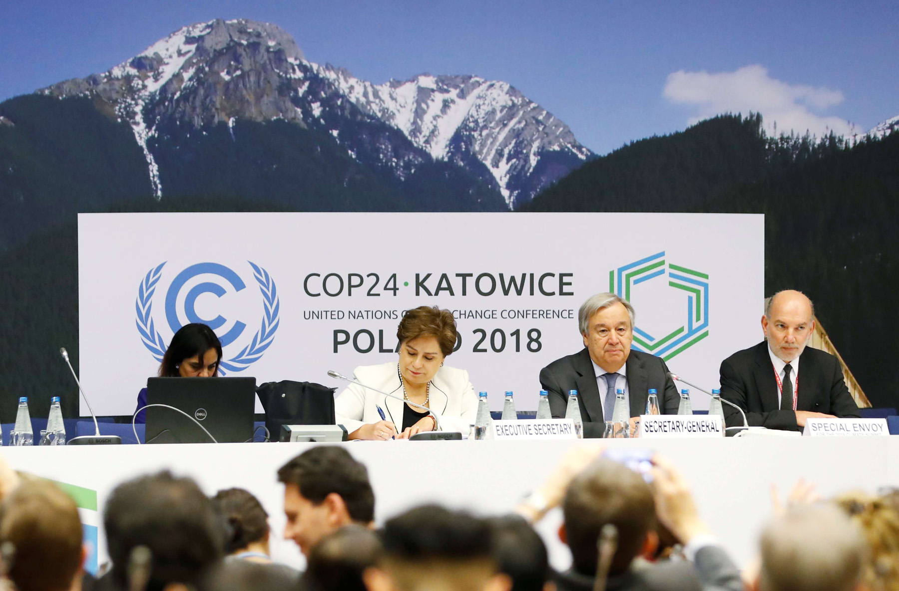 UN Secretary General Antonio Guterres, executive secretary of the UN Framework Convention on Climate Change Patricia Espinosa and UN Special Envoy for the 2019 climate summit Luis Alfonso de Alba at the COP24 UN Climate Change Conference 2018. (Reuters)