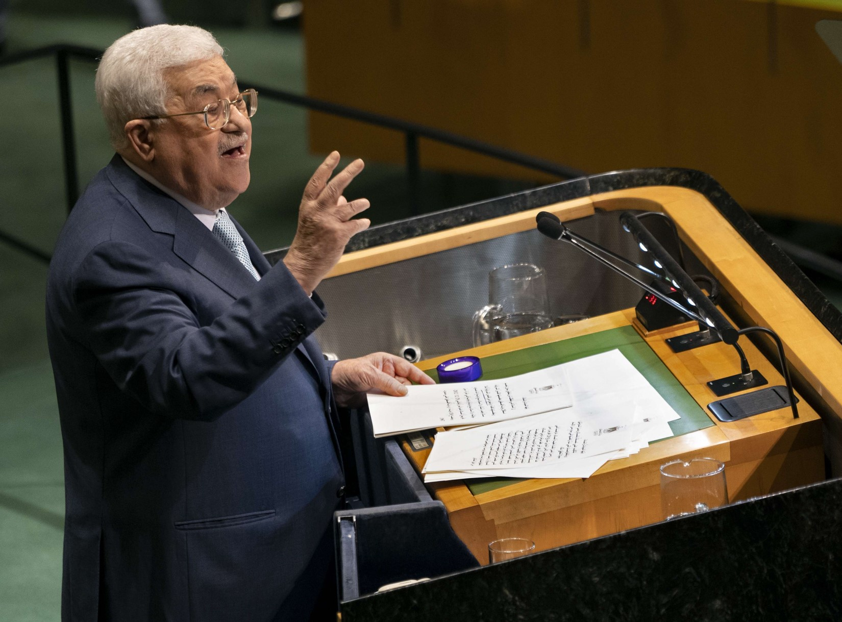 Palestinian President Mahmoud Abbas addresses the 73rd session of the United Nations General Assembly, at UN headquarters, Thursday, September 27, 2018. (AP)