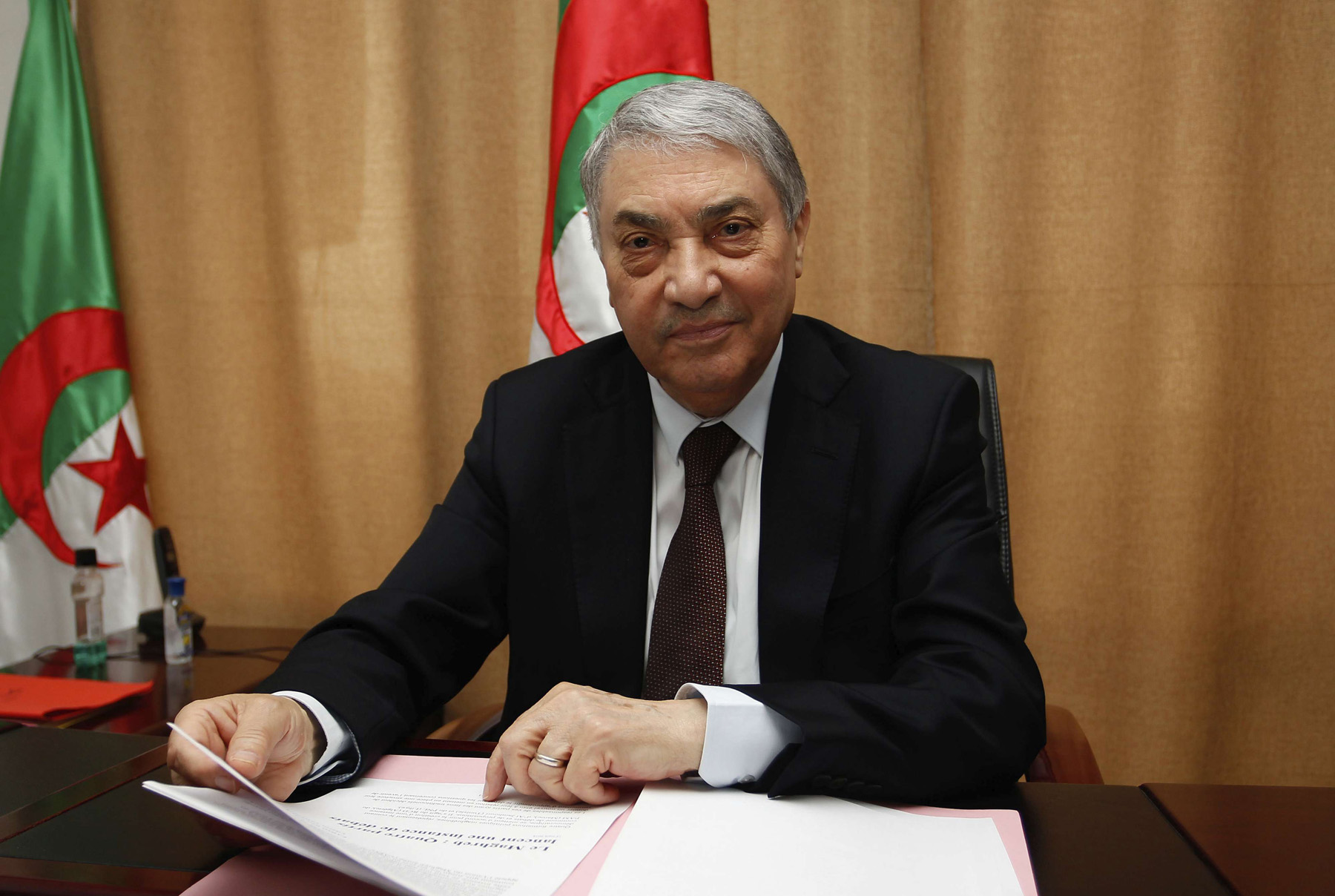 In this file photo from March 2018, former Algerian Prime Minister Ali Benflis talks to the Associated Press in Algiers. Benflis has announced on Sunday, Jan. 20, 2019 that he will run for president in next year's election. (AP)