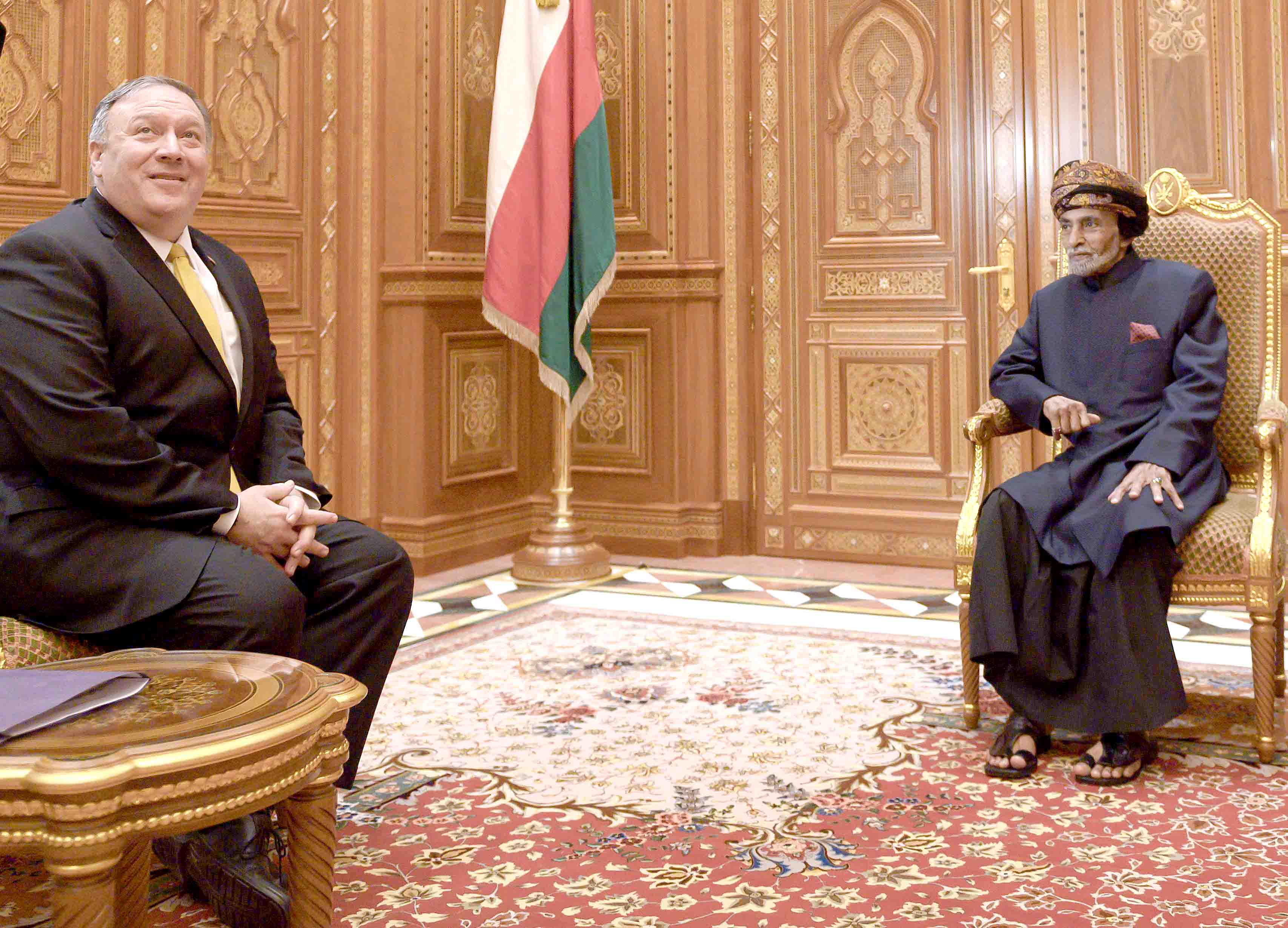 Evolving challenges. US Secretary of State Mike Pompeo (L) meets with Omani Sultan Qaboos bin Said Al Said in Muscat. (AP)