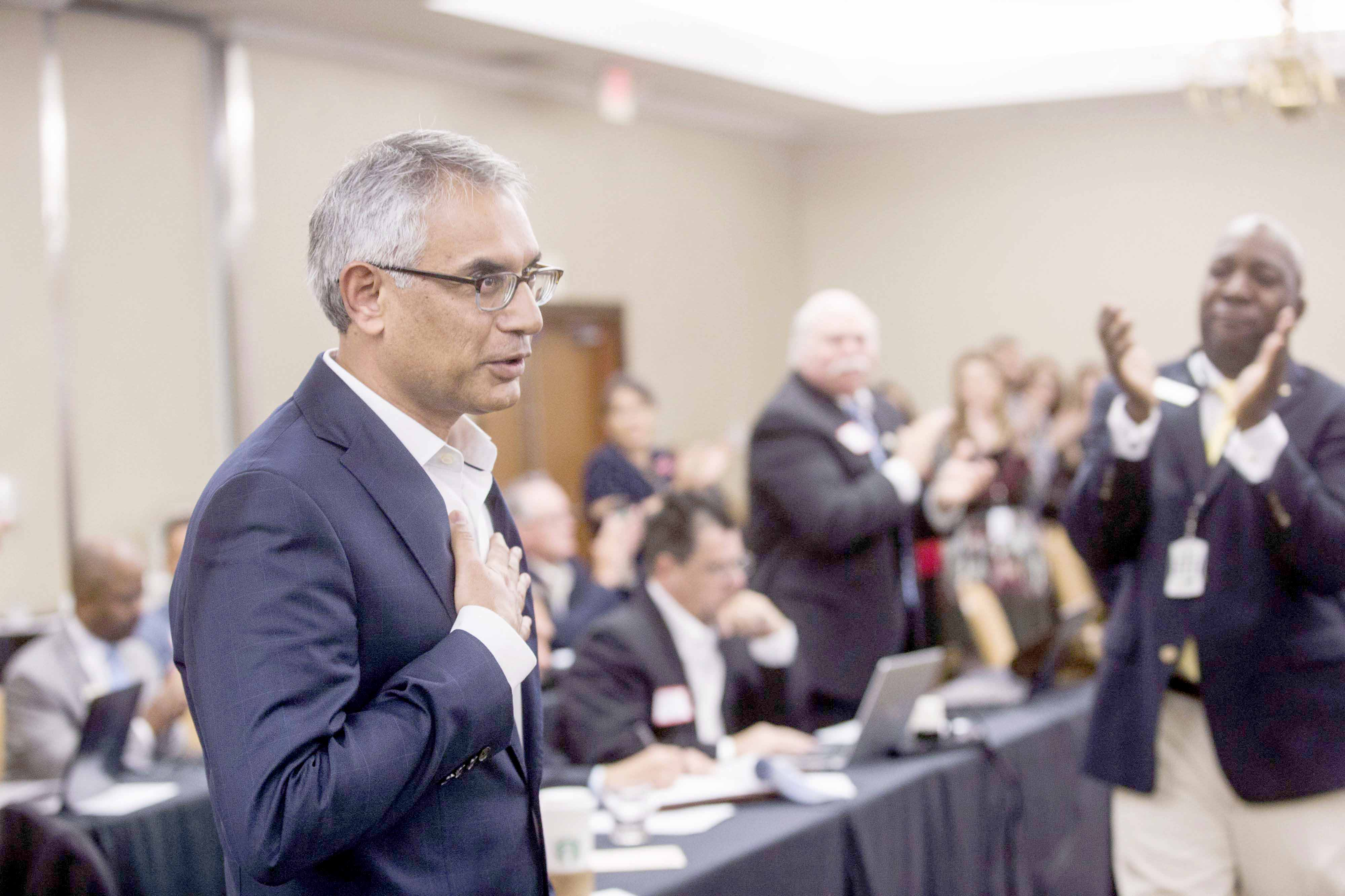 Shahid Shafi speaks before members of the State Republican Executive Committee, last December. (AP)