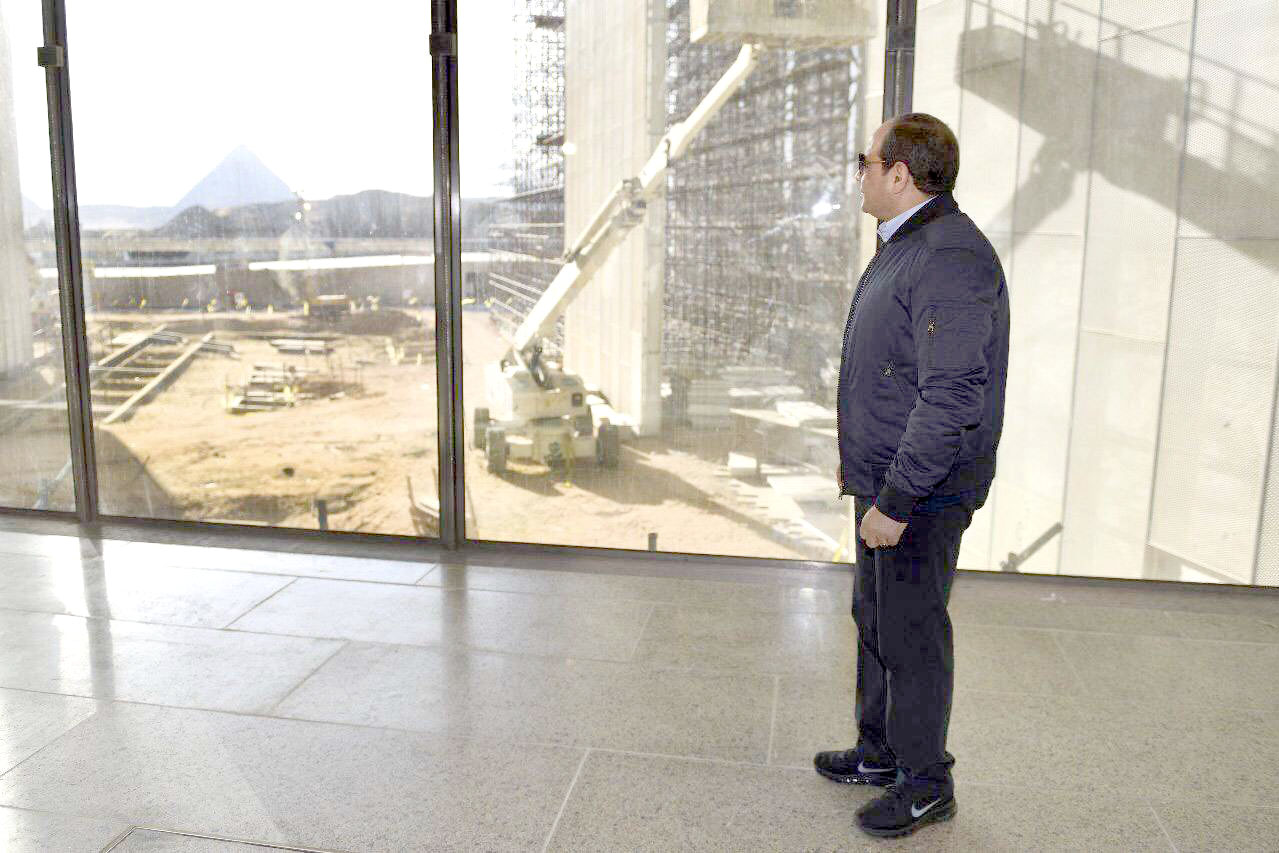 Egyptian President Abdel Fattah al-Sisi inspects the progress of work during a tour of the Grand Egyptian Museum, December 27. (Egyptian Presidency)