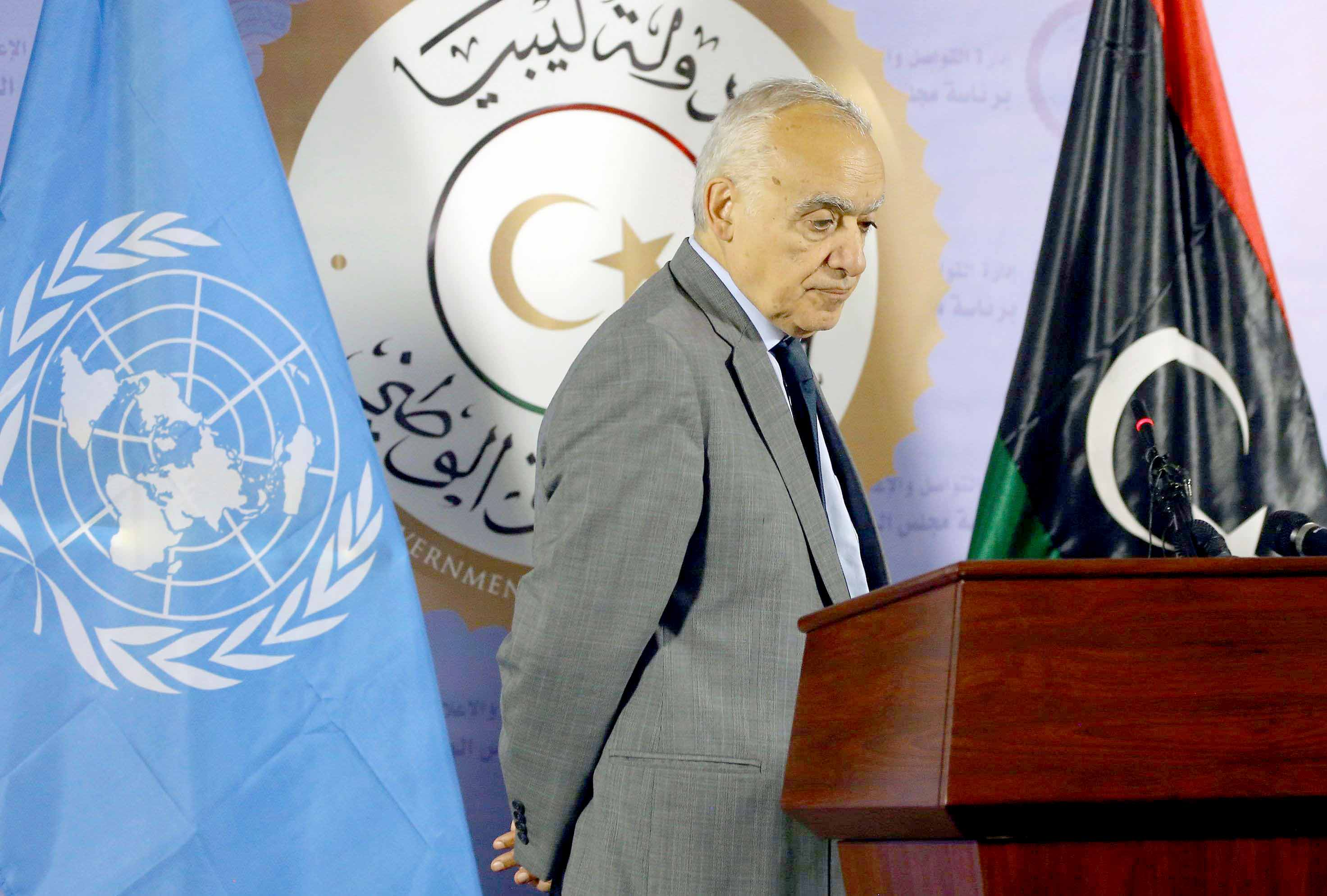 UN Special Envoy for Libya Ghassan Salame speaks during a news conference in Tripoli, last September. (AFP)