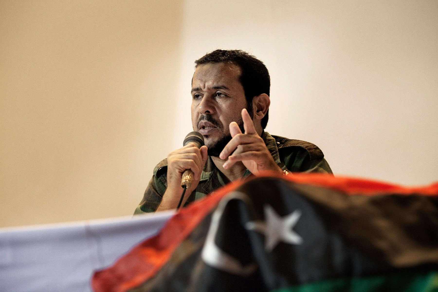 In the crosshairs. A 2011 file picture shows Abdelhakim Belhaj, leader of Libya's pro-Islamist Watan Party, during a public debate at Tripoli University.			  		                   (AFP)