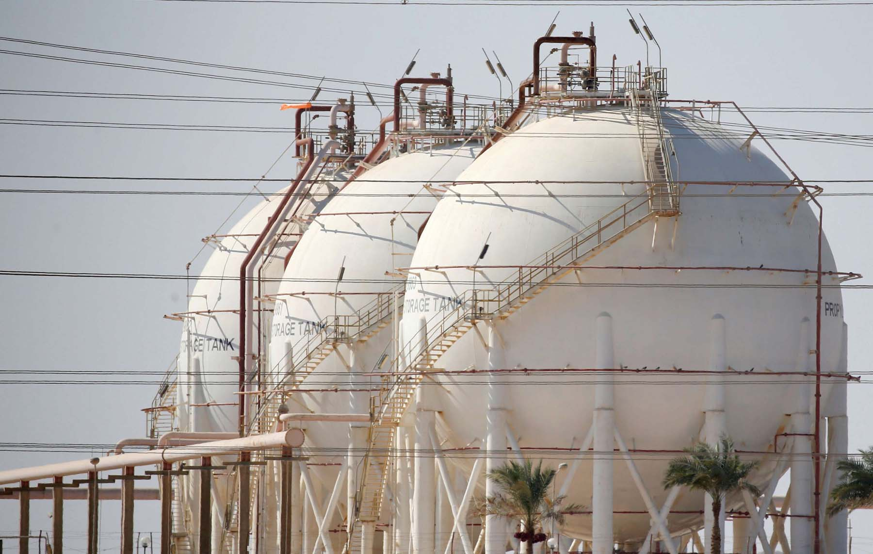 A boon to the economy. Gas tanks at the desert road of Suez city north of Cairo.                              (Reuters)