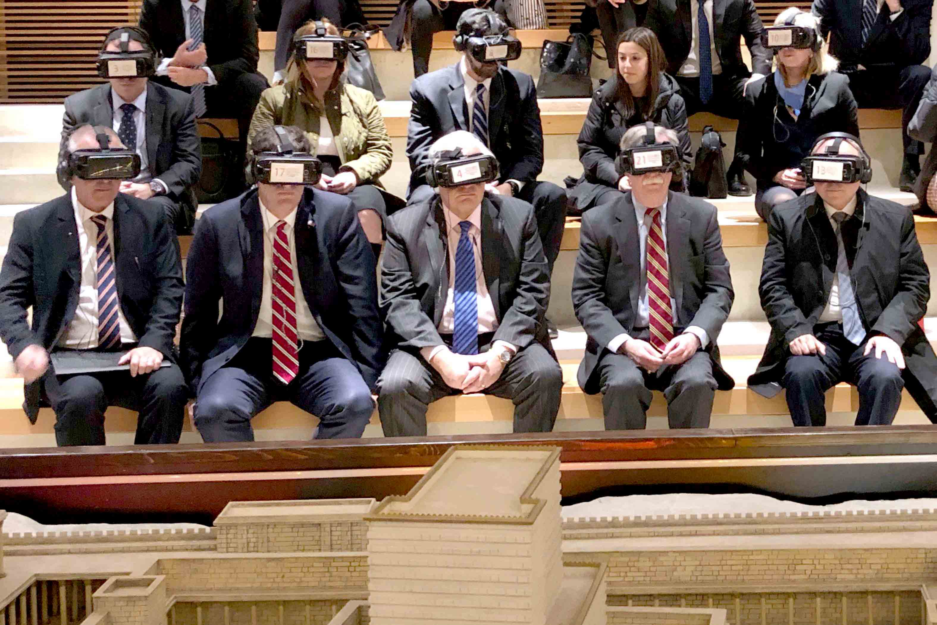 US national security adviser John Bolton (2nd R)  wears virtual reality goggles during a visit to the Western Wall  tunnel complex in Jerusalem's Old City, January 6. (Reuters)