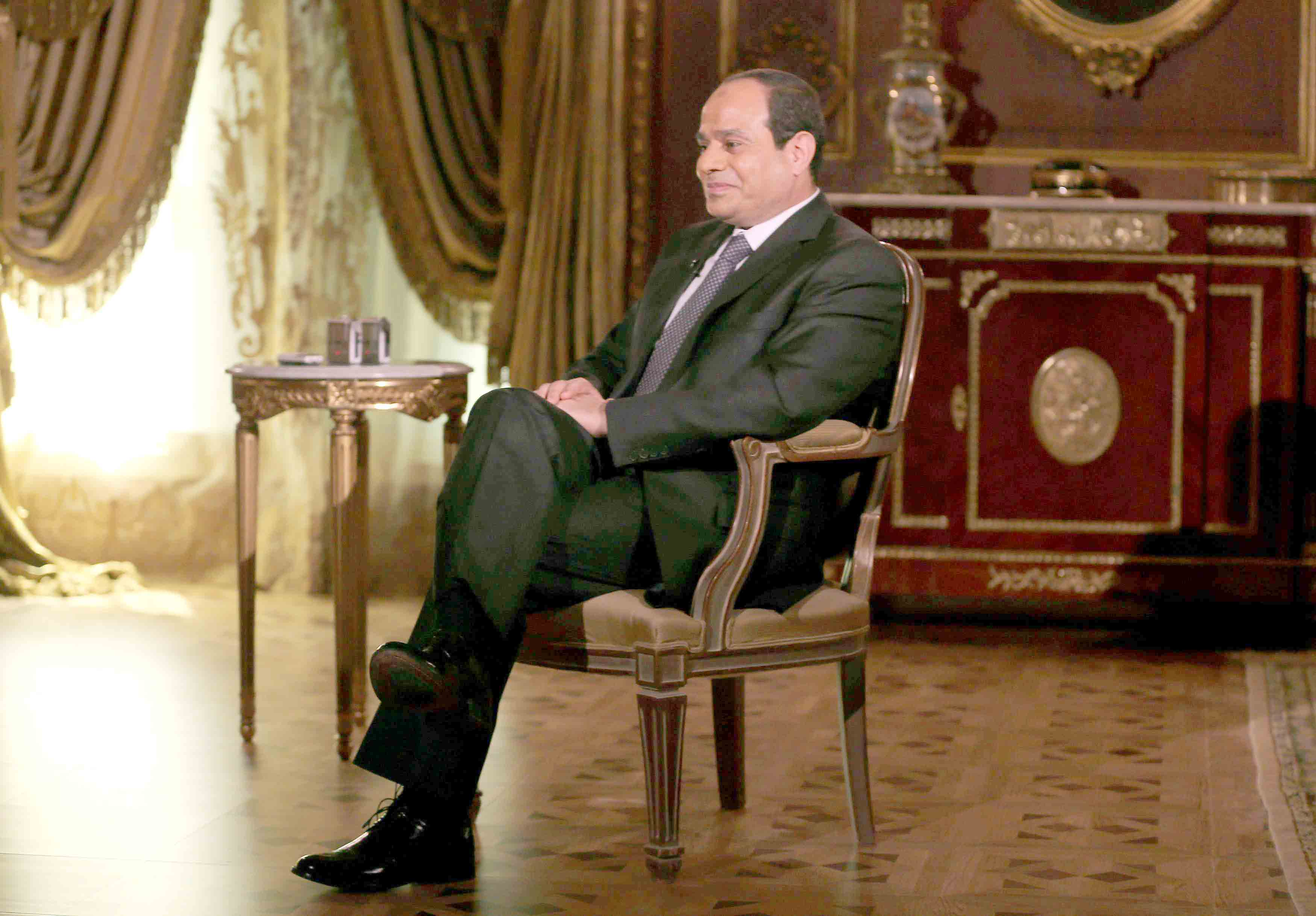 Egyptian President Abdel Fattah al-Sisi sits during an interview in Cairo. (Reuters)
