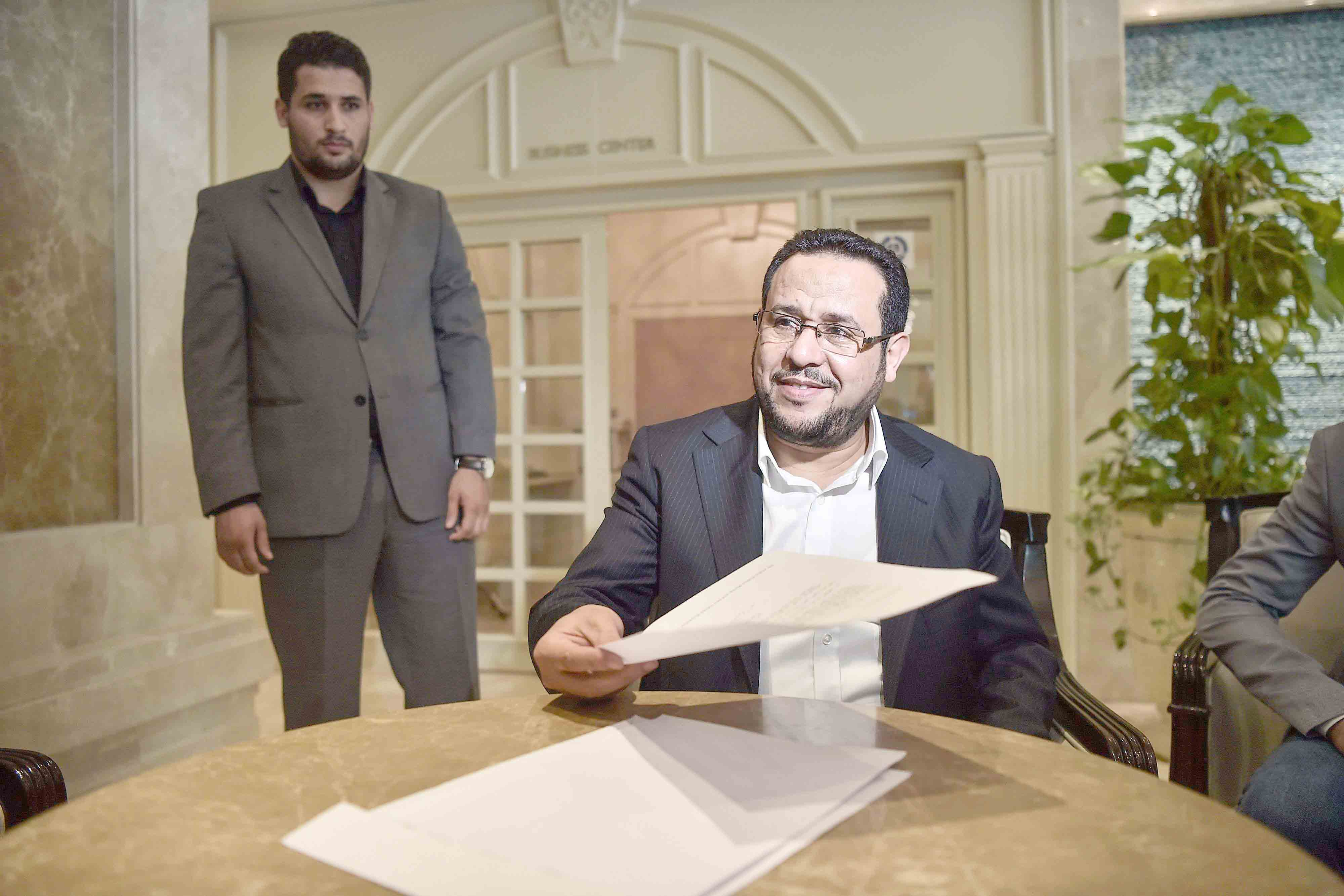 Abdulhakim Belhaj, head of Libya's al-Watan Party and owner of its pro-Islamist TV station Al Nabaa, attends a news conference in Istanbul, last May. (AFP)