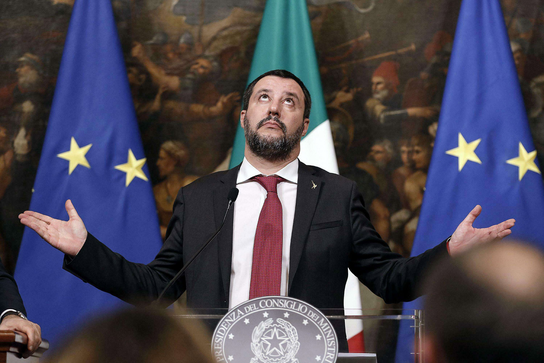 Up in arms. Italian Interior Minister Matteo Salvini attends a news conference in Rome, January 17.    (AP)
