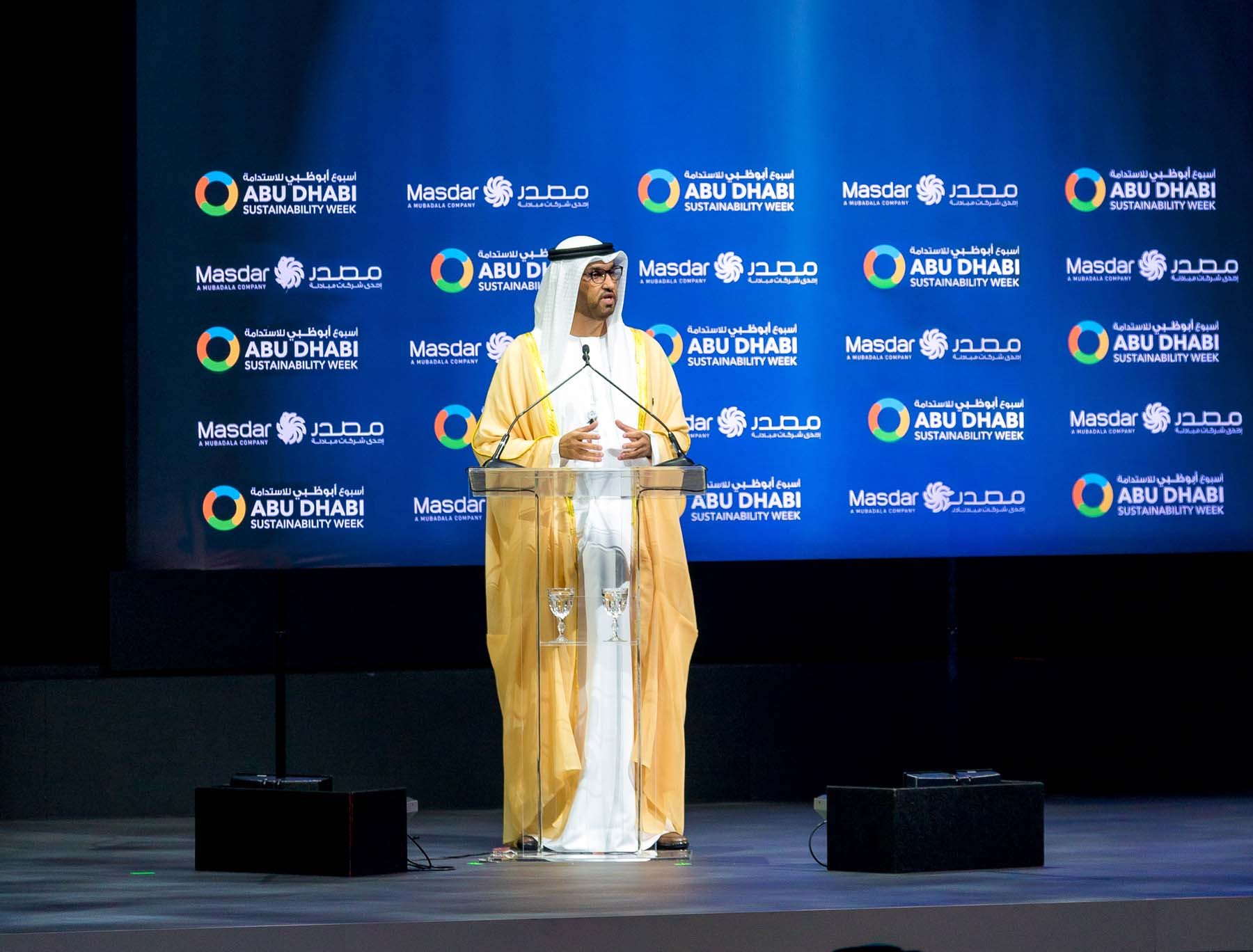 UAE Minister of State and Chairman of Masdar Sultan Ahmed  al-Jaber during the opening  ceremony of the World Future Energy Summit. (Masdar)