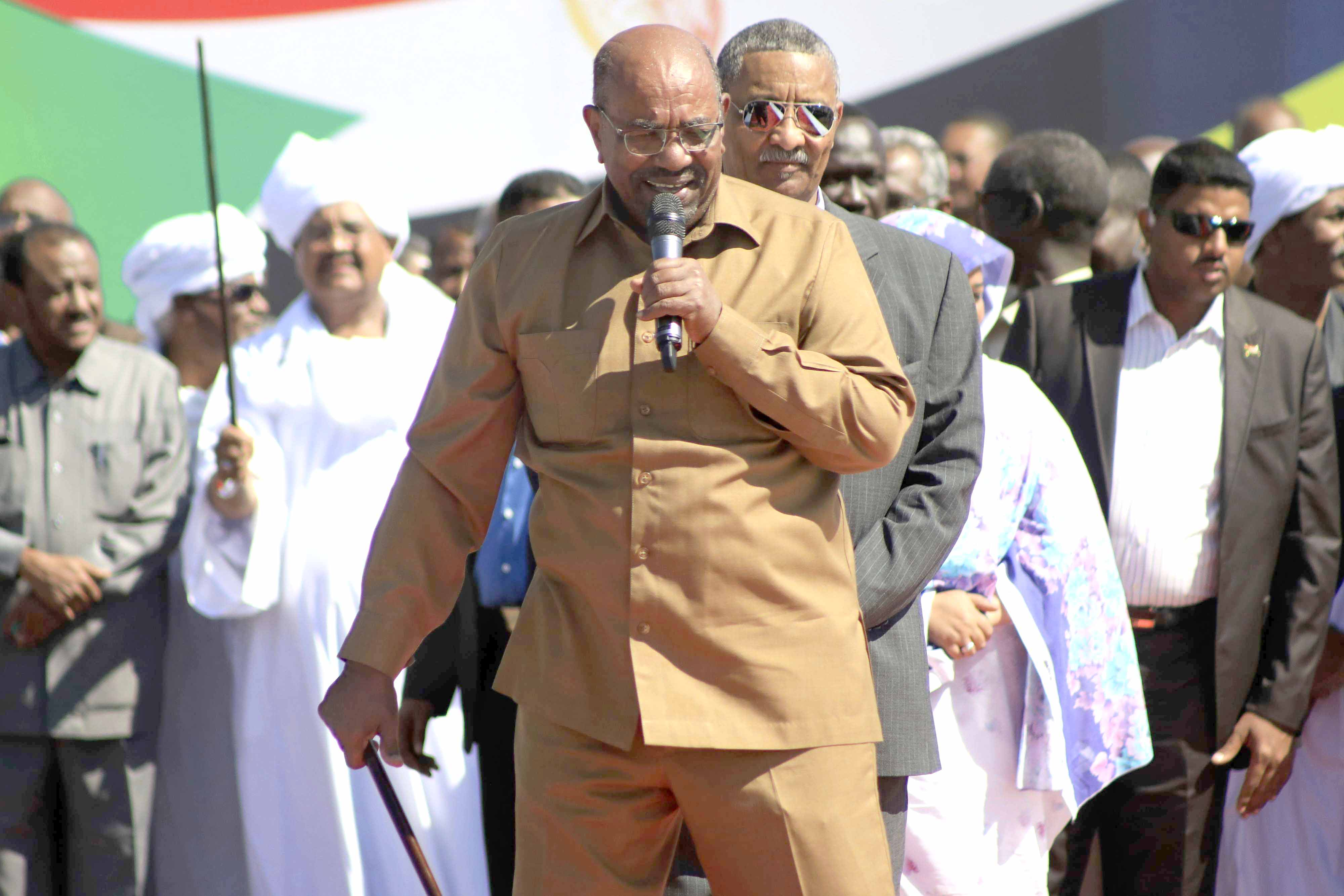 Sudanese President Omar al-Bashir addresses supporters at a rally in Khartoum, January 9. (AP)