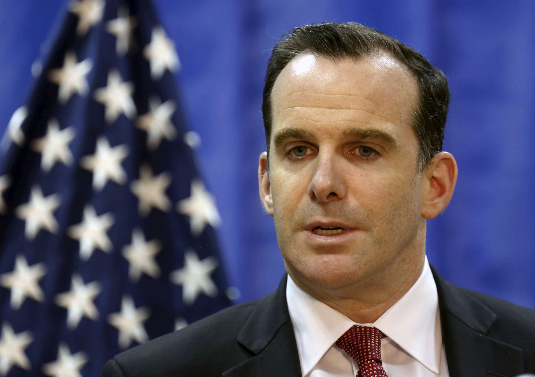 Brett McGurk, U.S. envoy to the coalition against Islamic State, speaks to during news conference at the U.S. Embassy in Baghdad, Iraq, March 5, 2016. (Reuters)