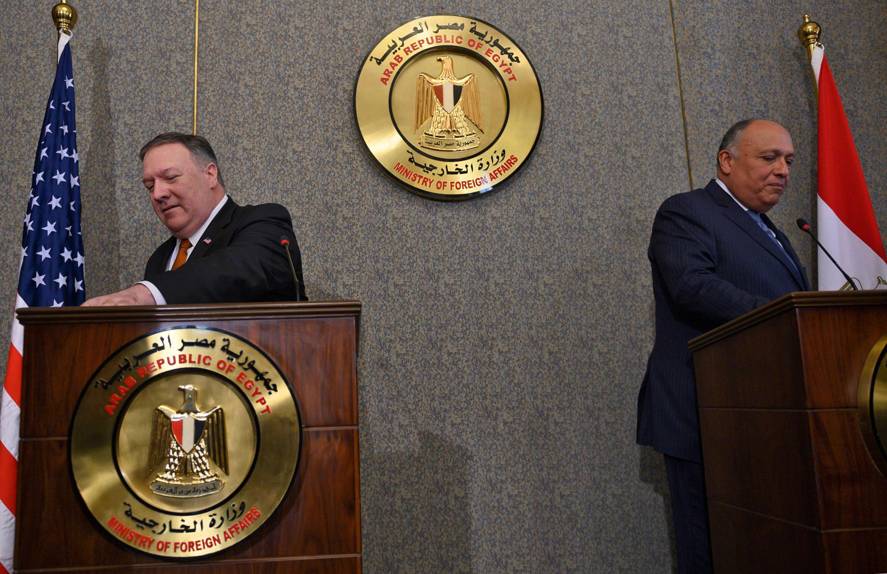 US Secretary of State Mike Pompeo (L) holds a joint press conference with Egyptian Foreign Minister Sameh Shoukry at the ministry of foreign affairs in Cairo on January 10, 2019. (AFP)