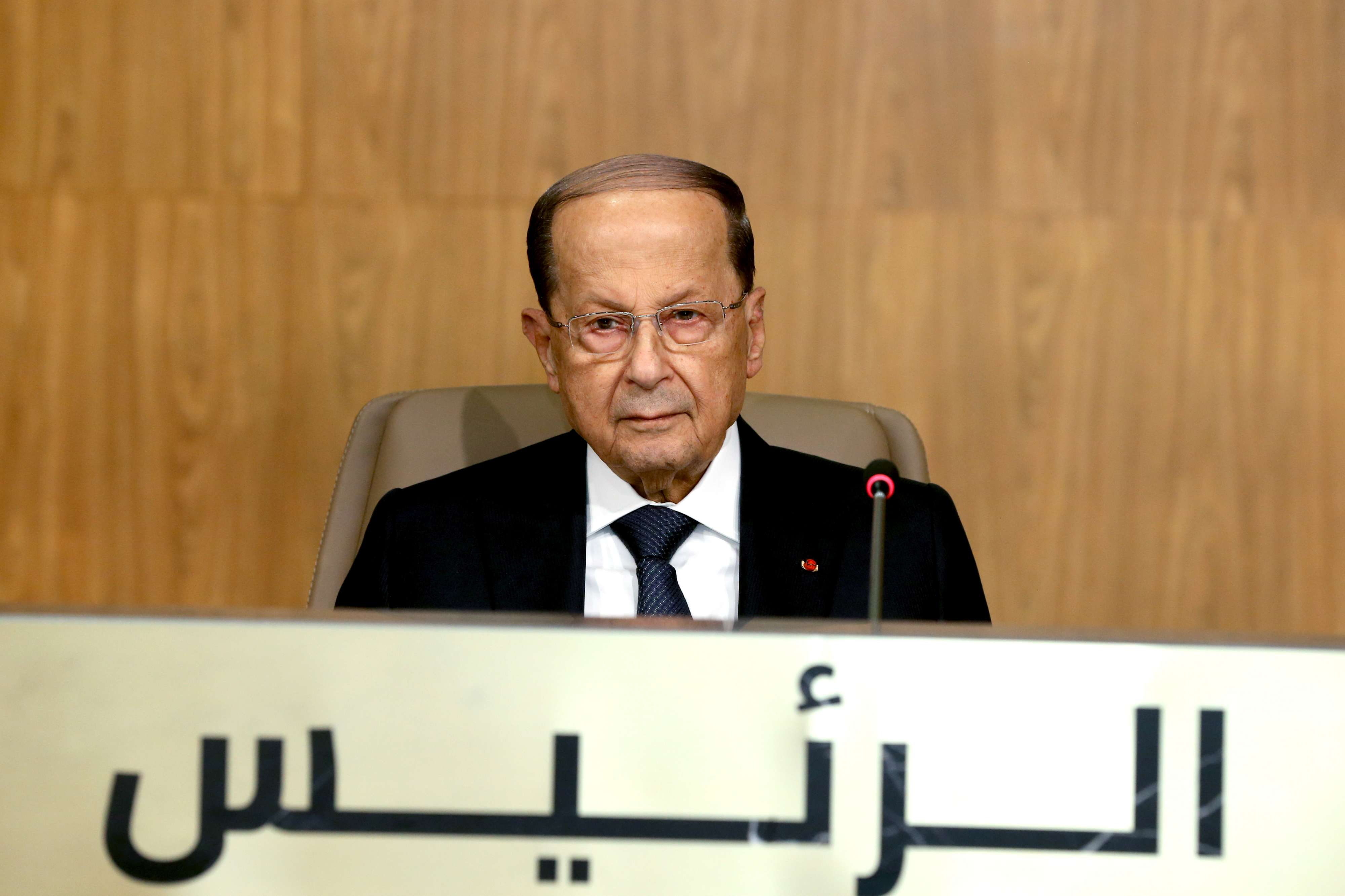 Bent out of shape. Lebanese President Michel Aoun attends the opening session of the Arab Economic and Social Development summit in Beirut, January 20. (DPA)