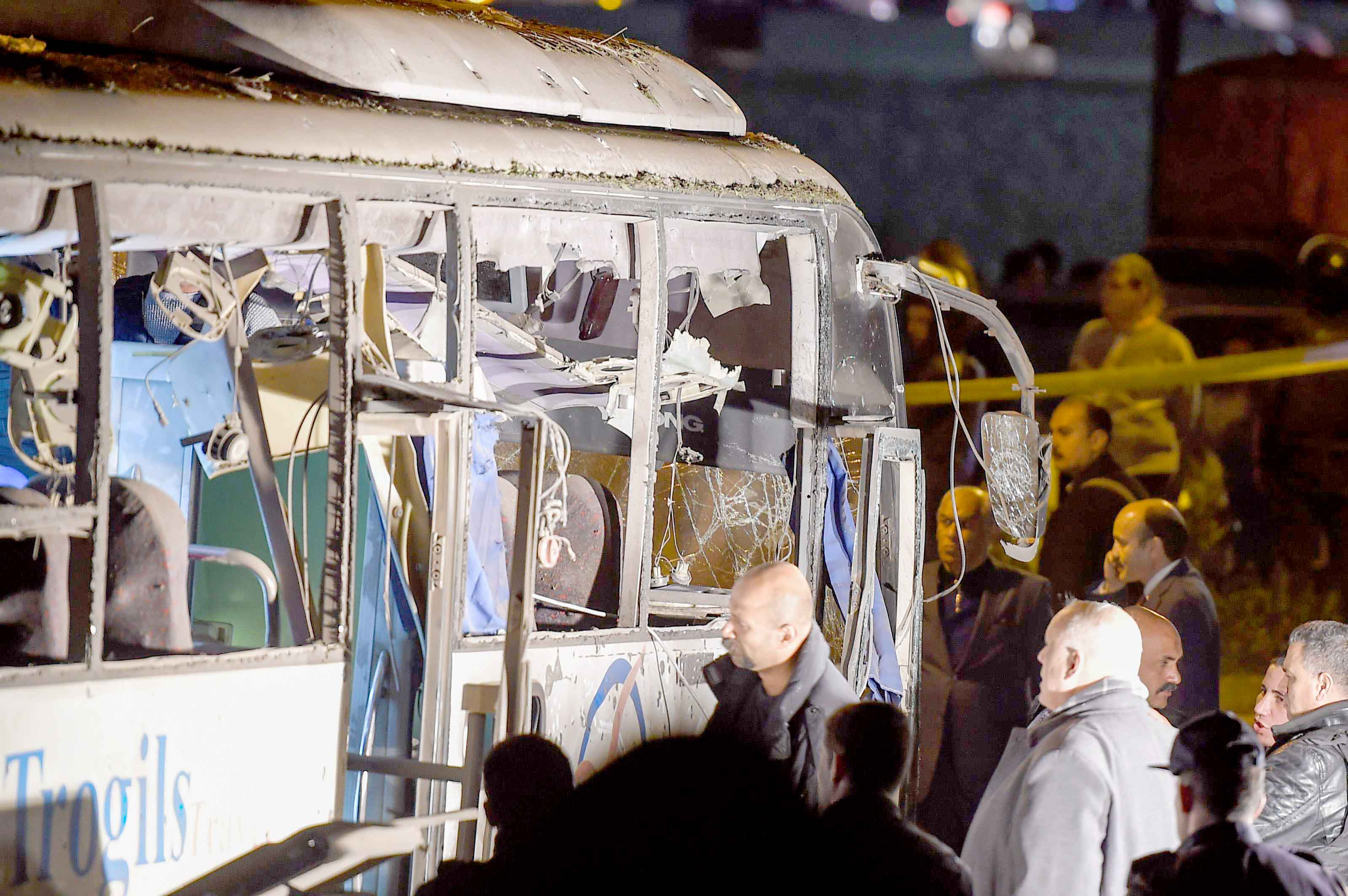 A view of a tourist bus that was attacked in Giza province south of Cairo, December 28. (AFP)
