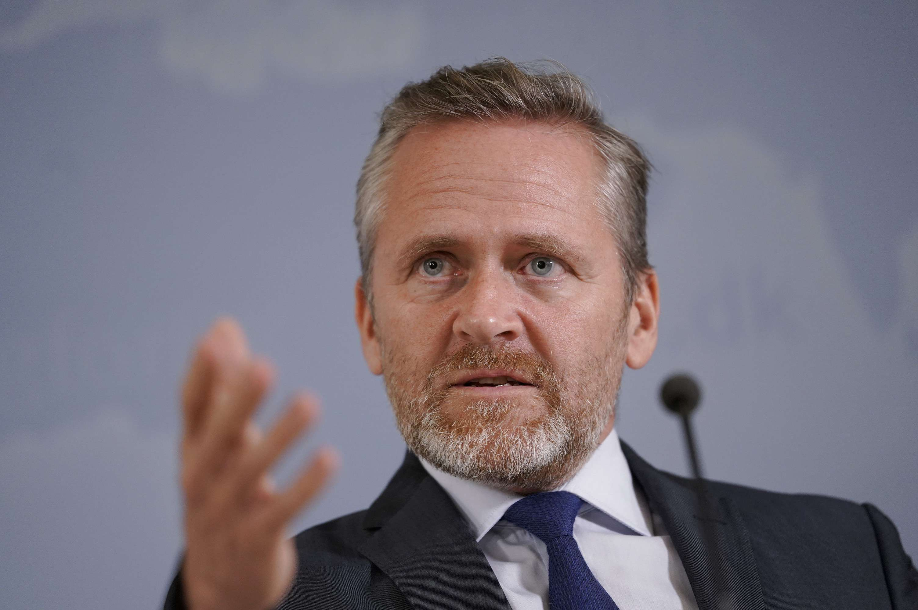 Danish Foreign Minister Anders Samuelsen gives a press conference in Copenhagen. (Reuters)
