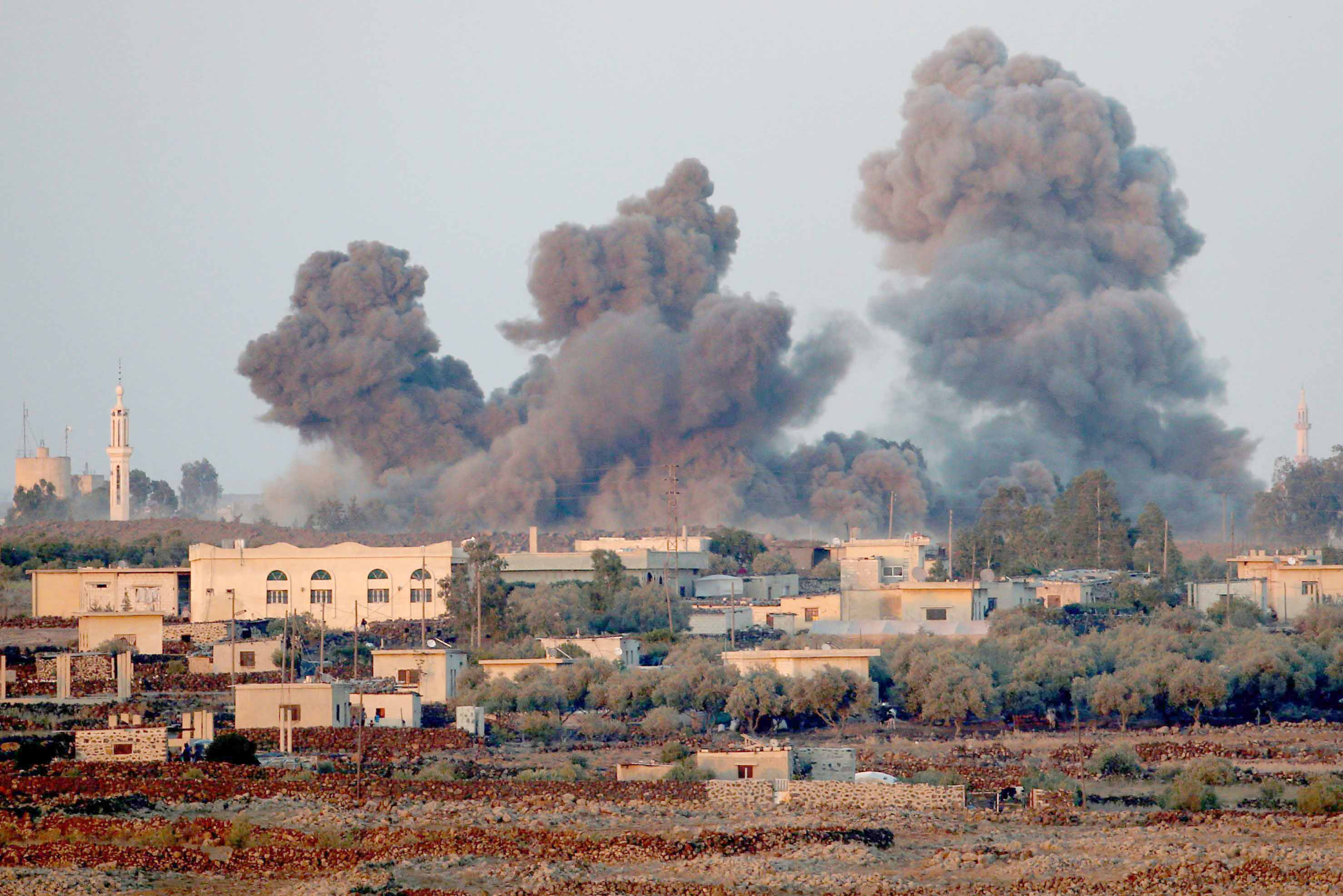 Smoke seen from an explosion at the Syrian side of the Israeli-Syrian border. (Reuters)