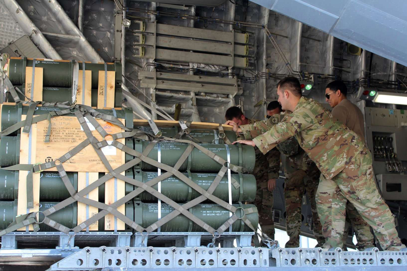 US soldiers unload military equipment destined for the Lebanese Army at Beirut airport, February 13. (American Embassy in Lebanon)