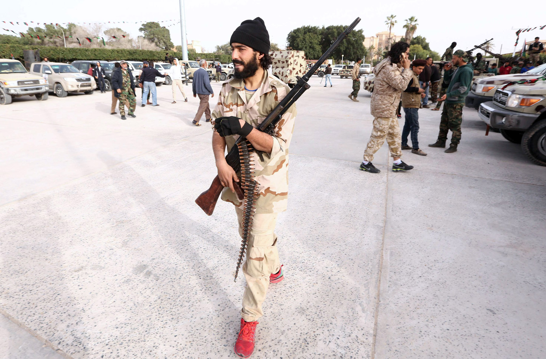 Militia politics. A member of a brigade loyal to Libya Dawn takes part in a military parade in the city of Sabratha, west of Tripoli.               (AFP)