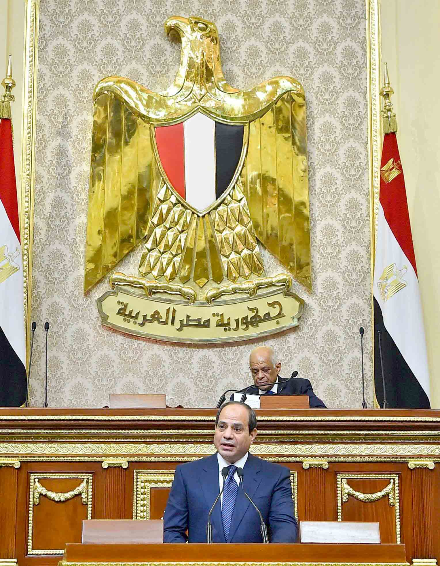 A strong support. Egyptian President Abdel Fattah al-Sisi speaks at the parliament meeting hall in Cairo, last June.(AFP)